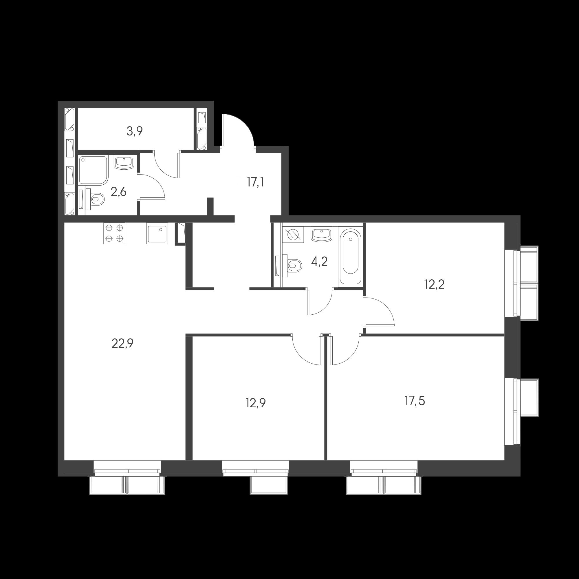3-комнатная 92.5  м²