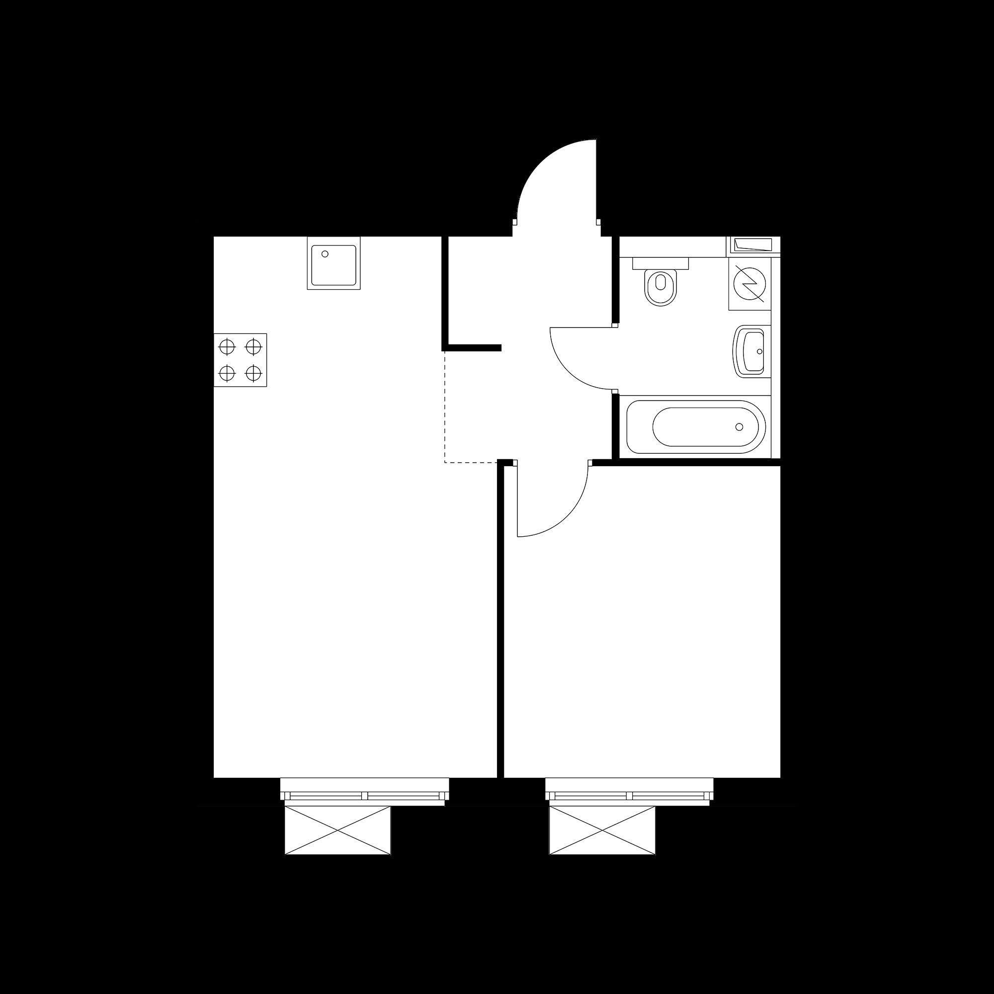 1-комнатная 37.77 м²