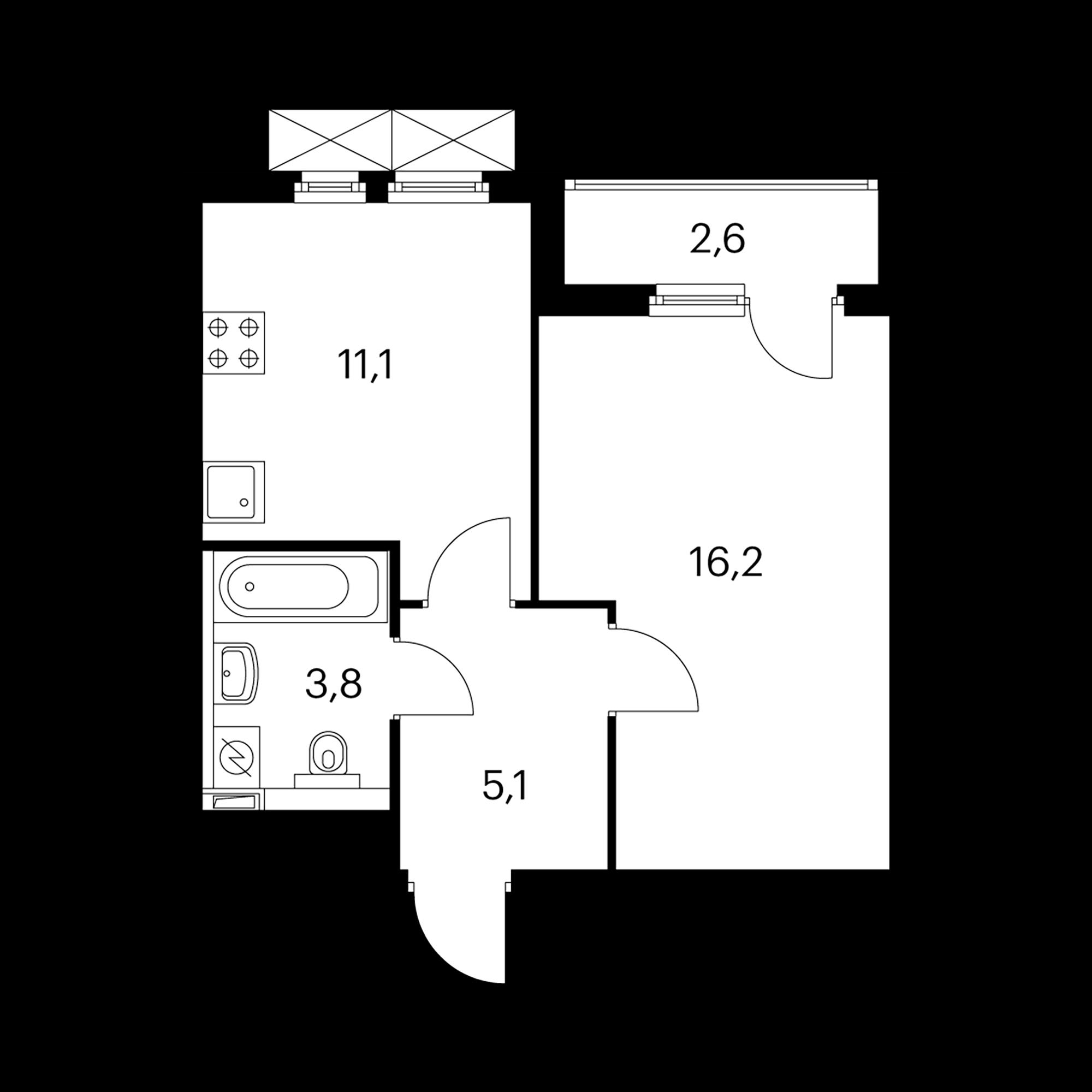 1-комнатная 37.5 м²