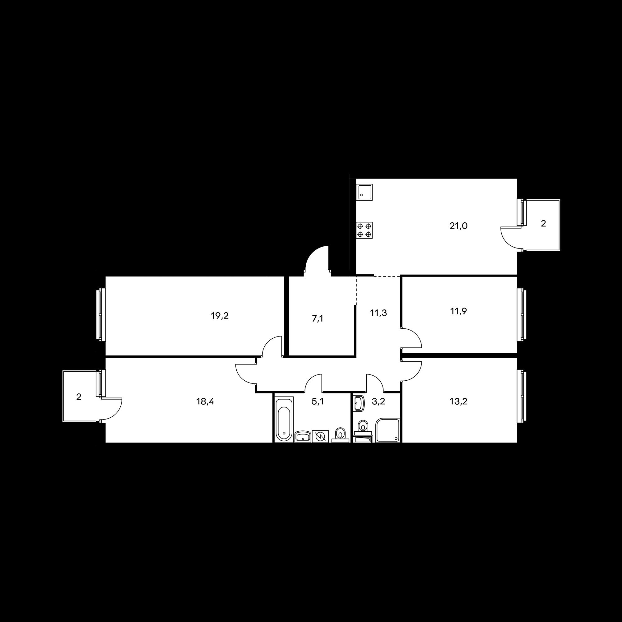 4-комнатная 111.6 м²