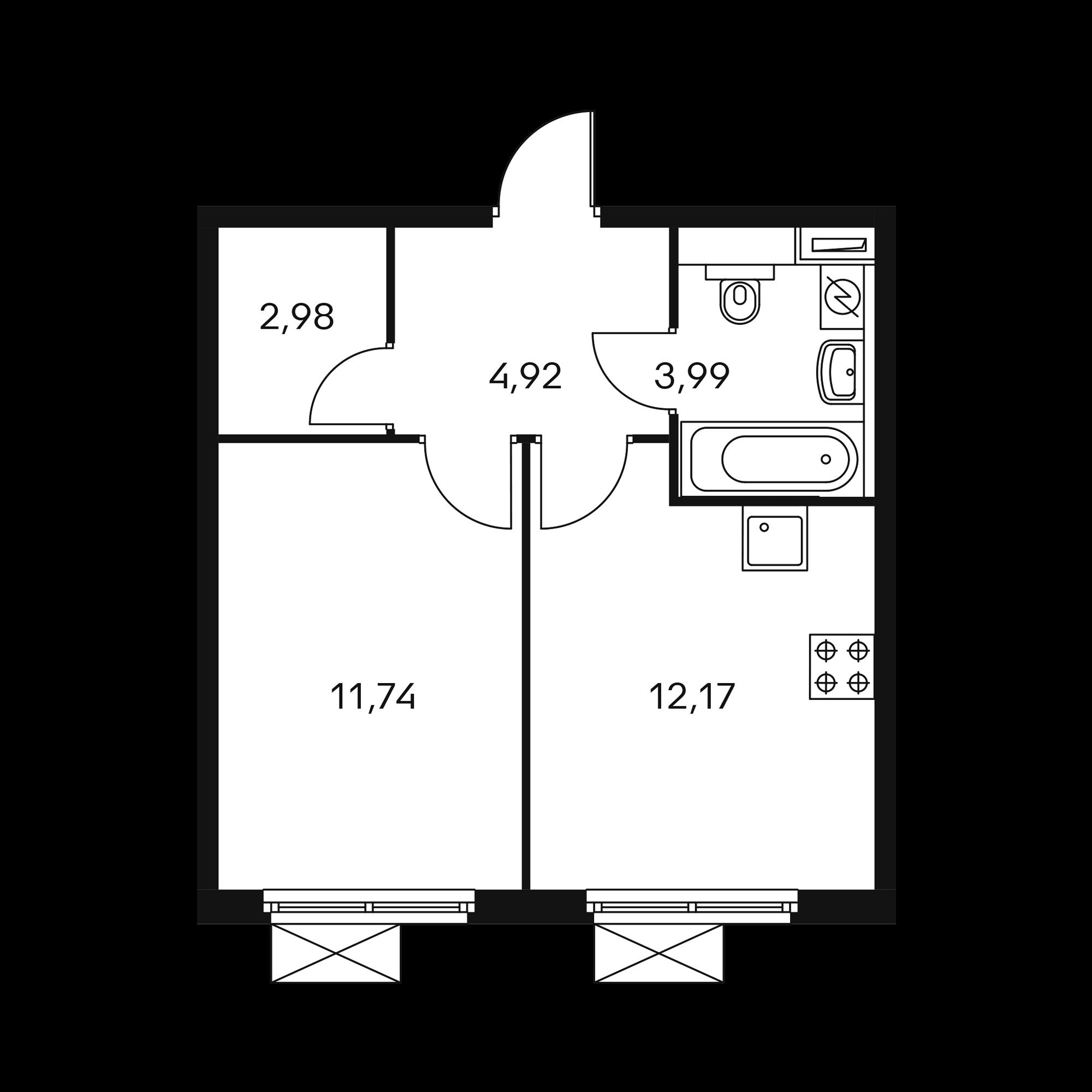 1-комнатная 35.88  м²