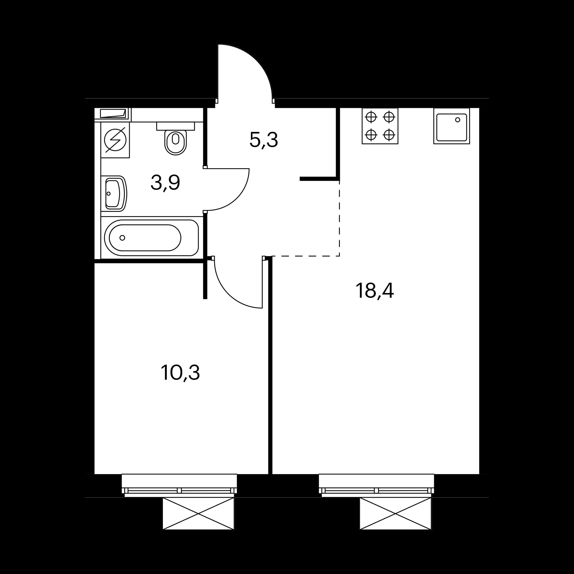 1-комнатная 37.9 м²