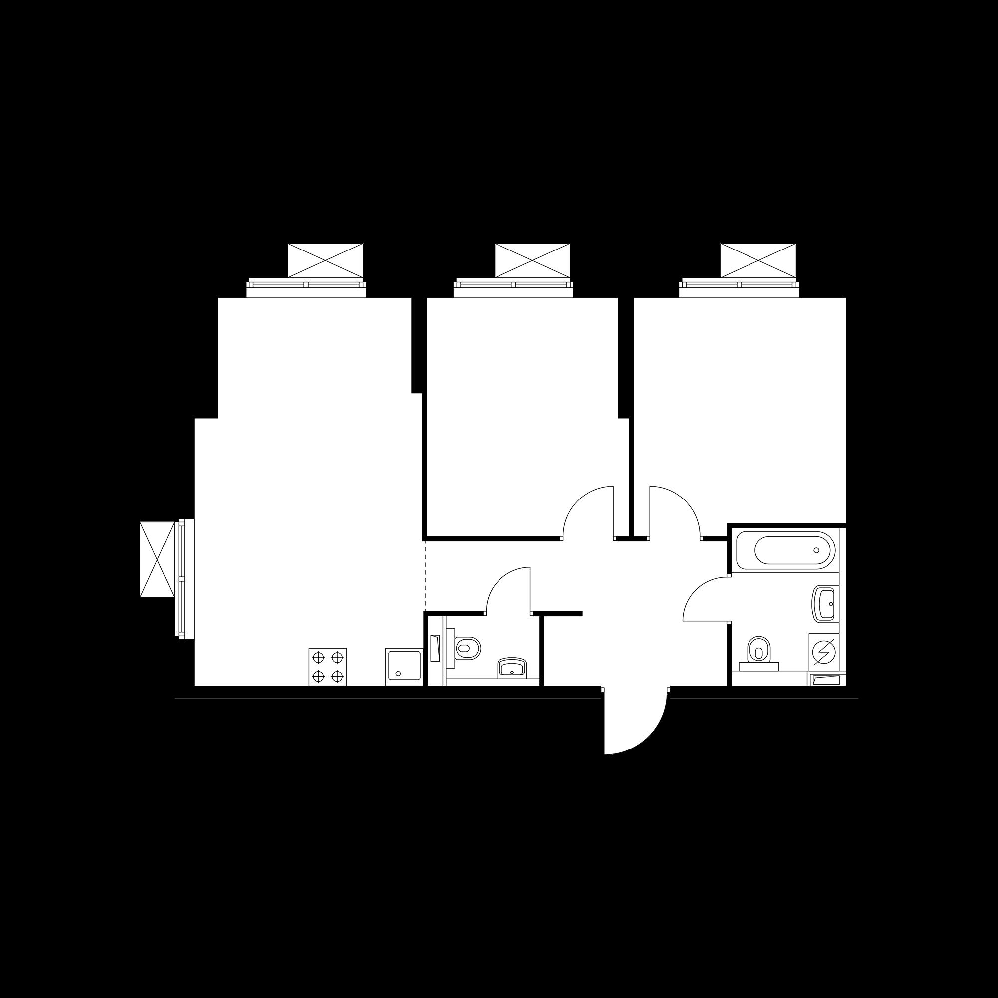 2-комнатная 60.58 м²