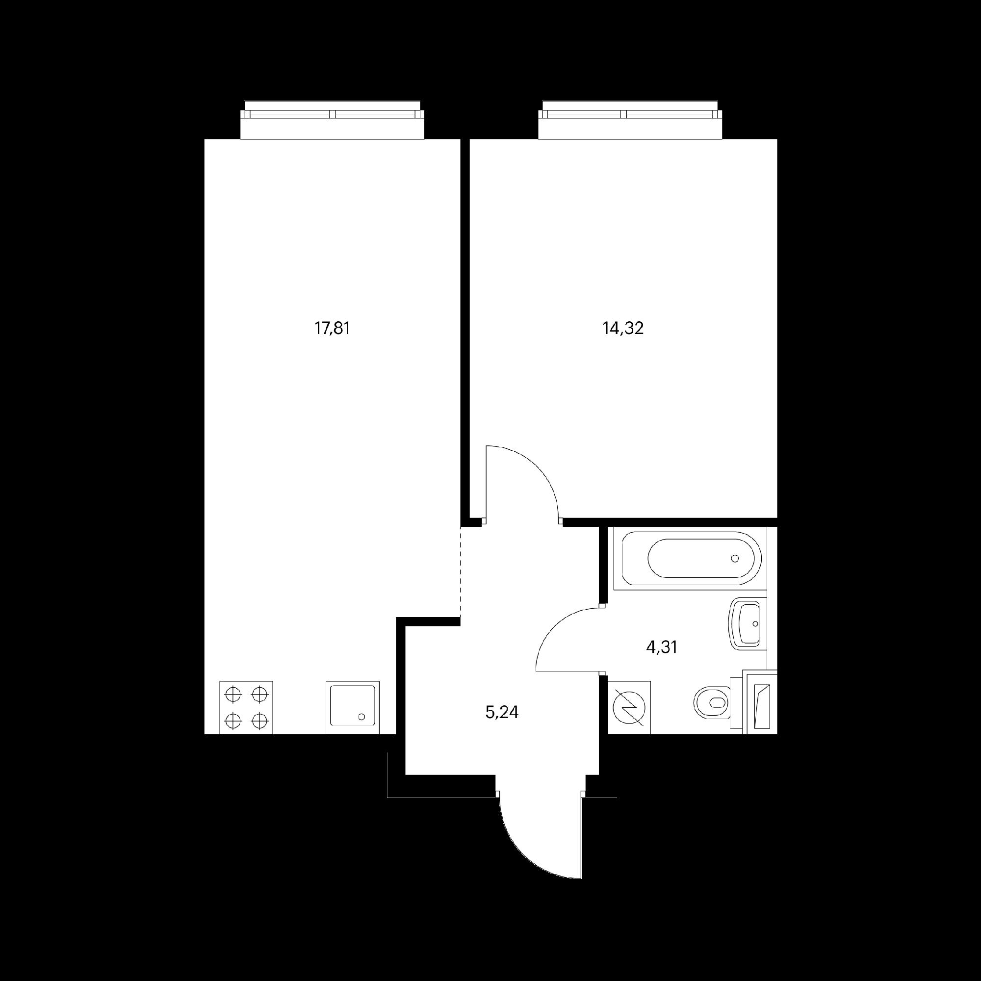 1-комнатная 41.68 м²
