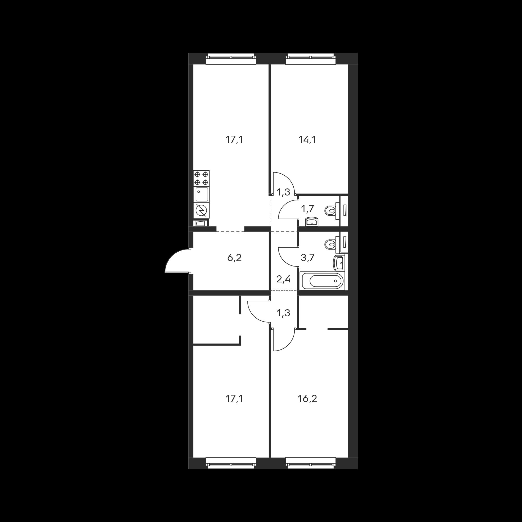 3-комнатная 81.1 м²