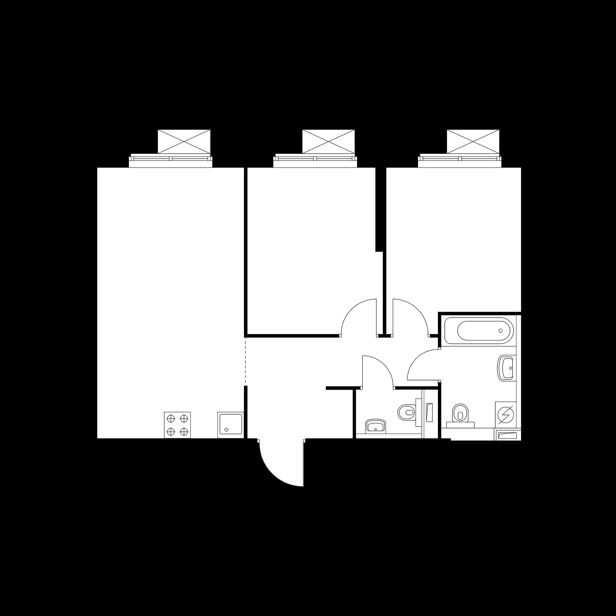 2-комнатная 57.19  м²