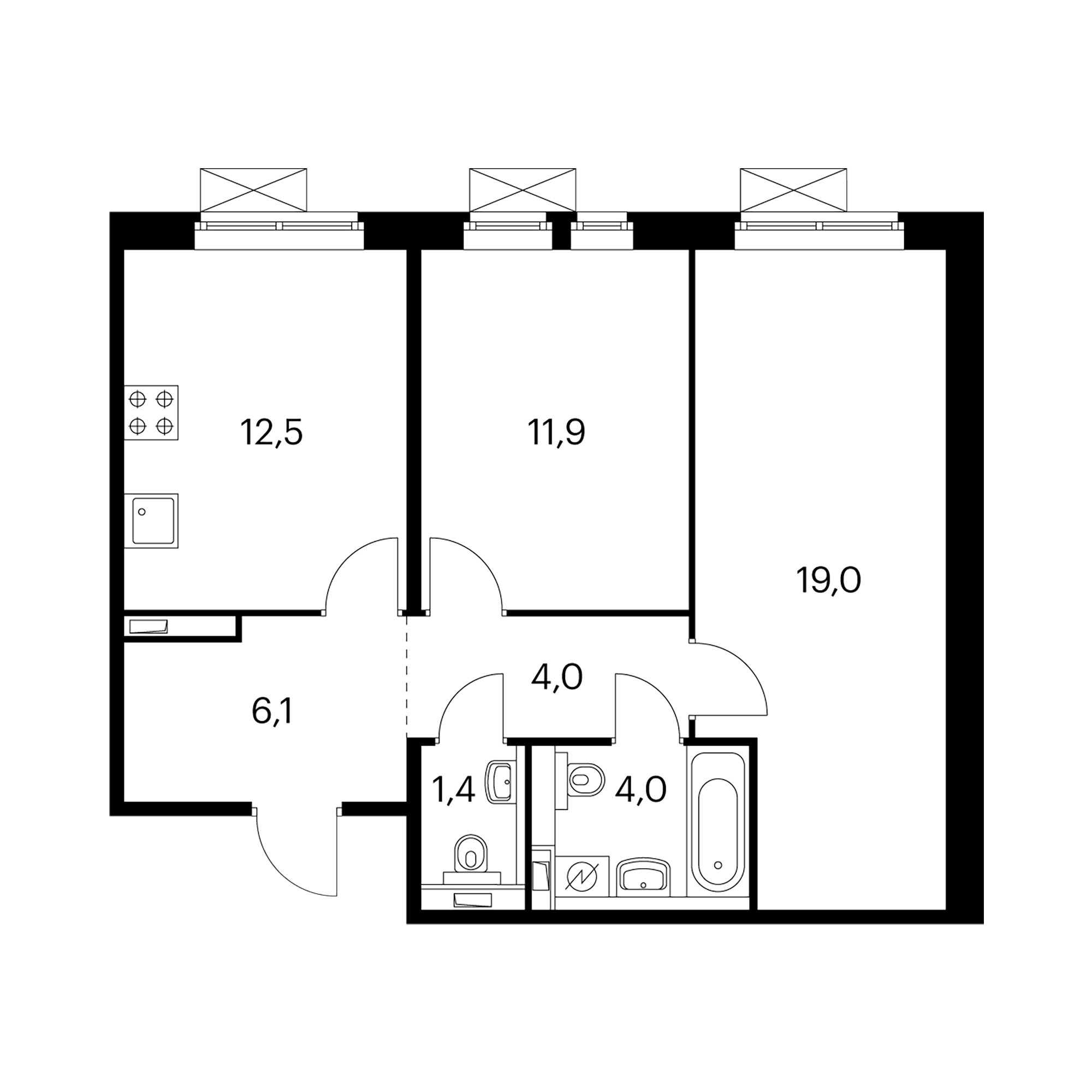 2-комнатная 59 м²
