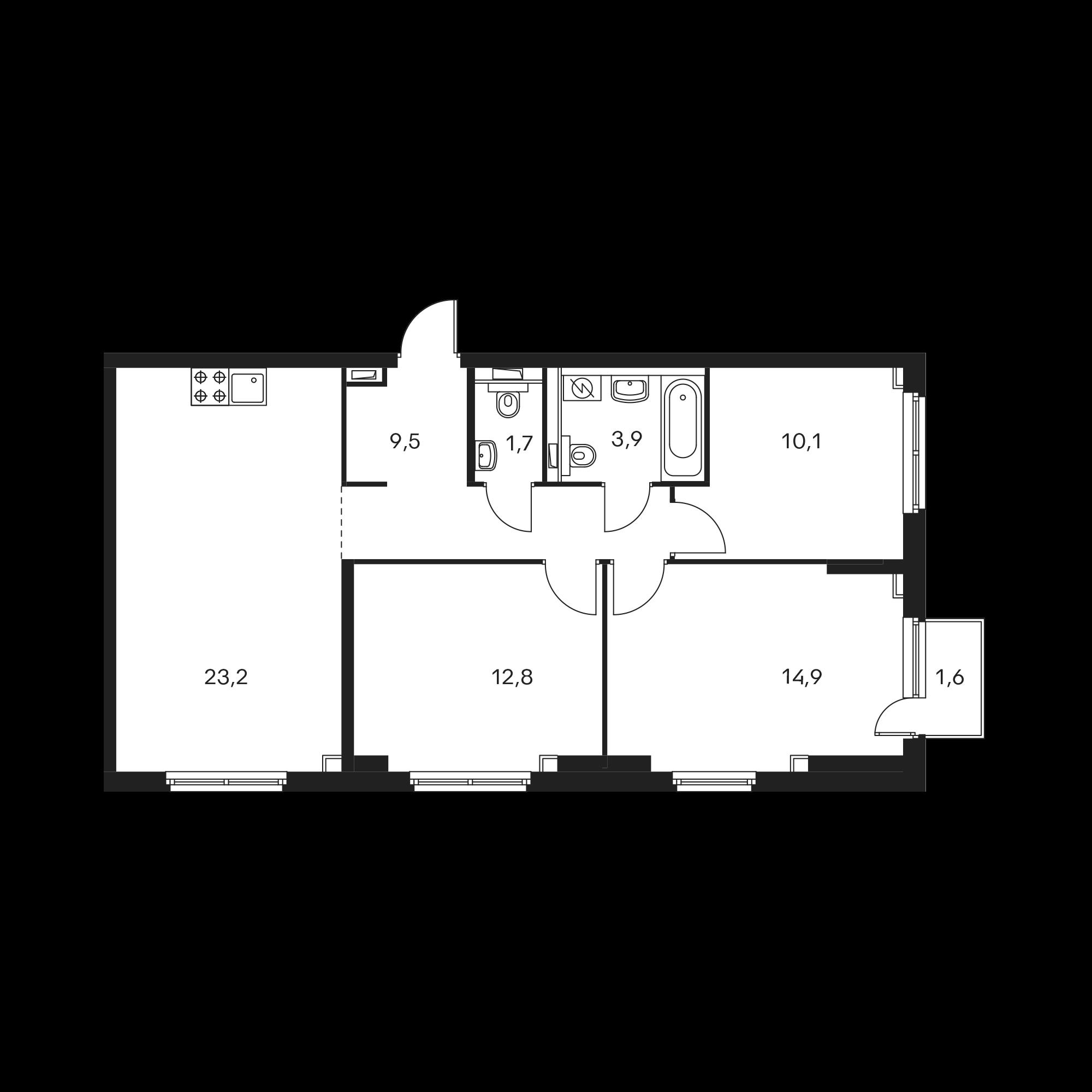 3-комнатная 76.6 м²