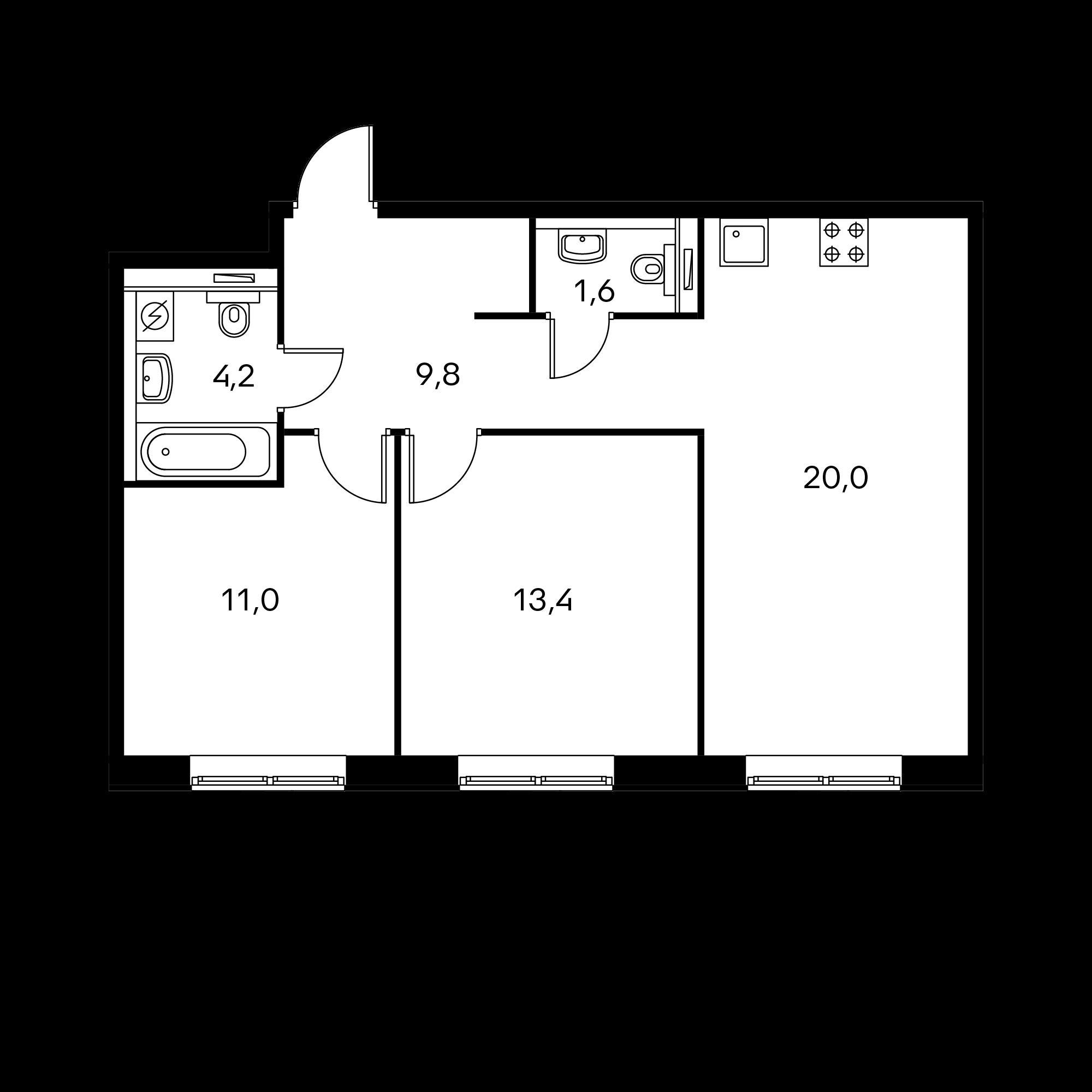 2-комнатная 60  м²
