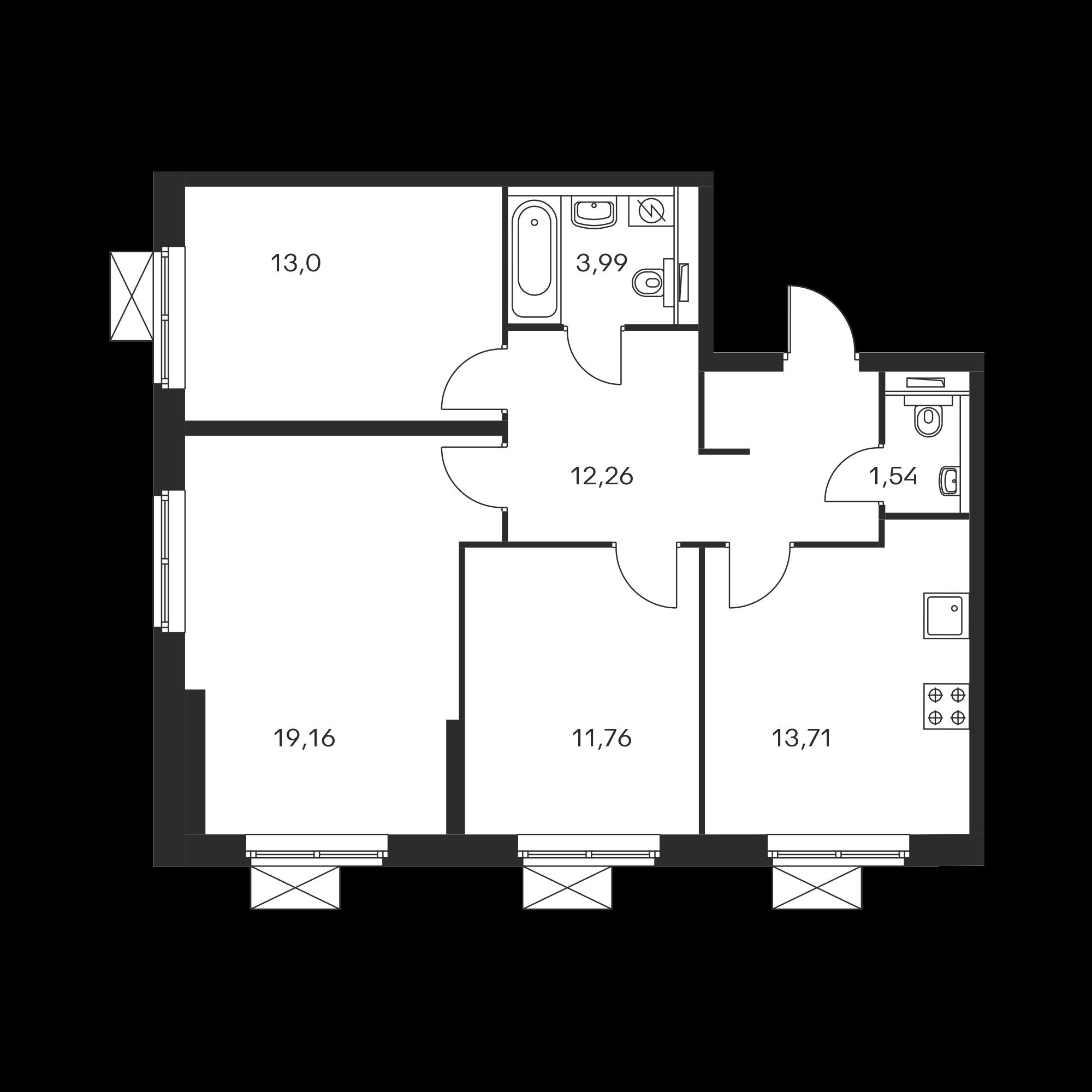 3-комнатная 75.47 м²