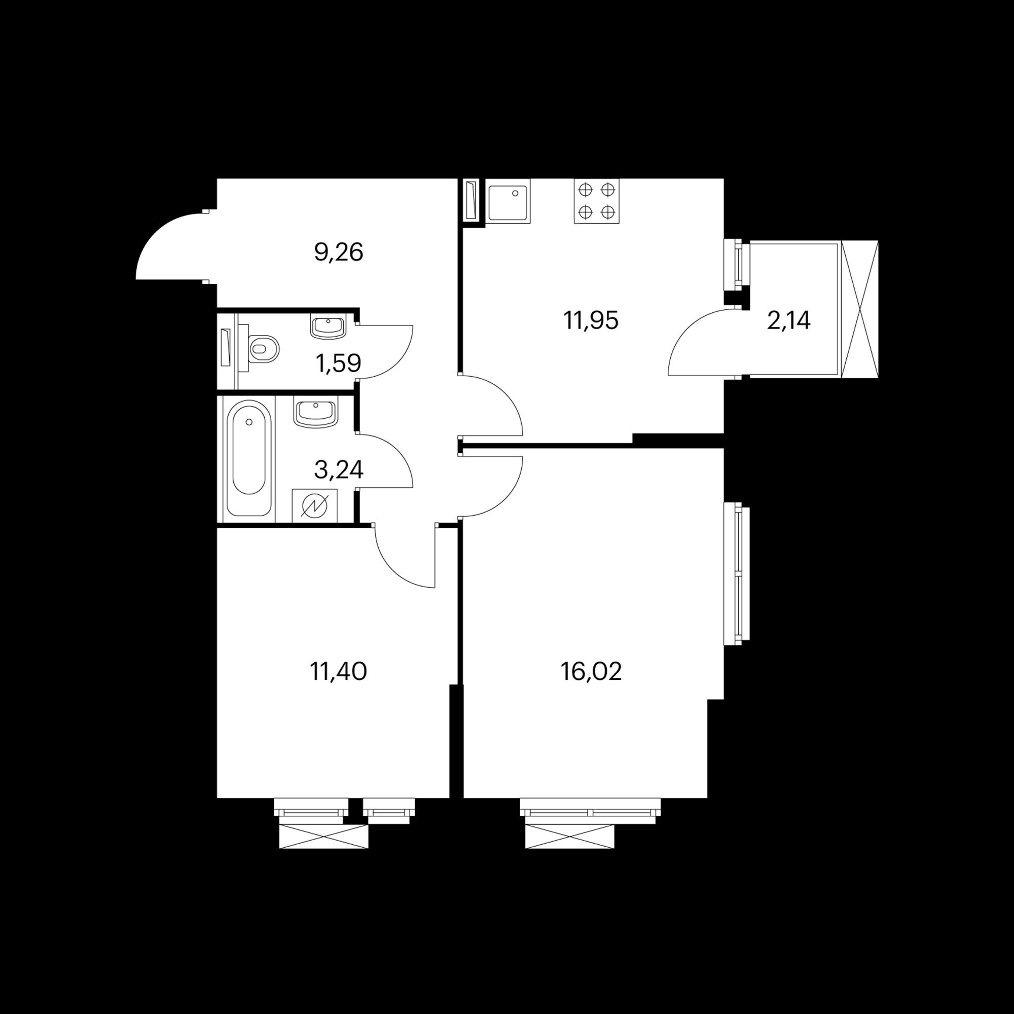 2-комнатная 54.09  м²