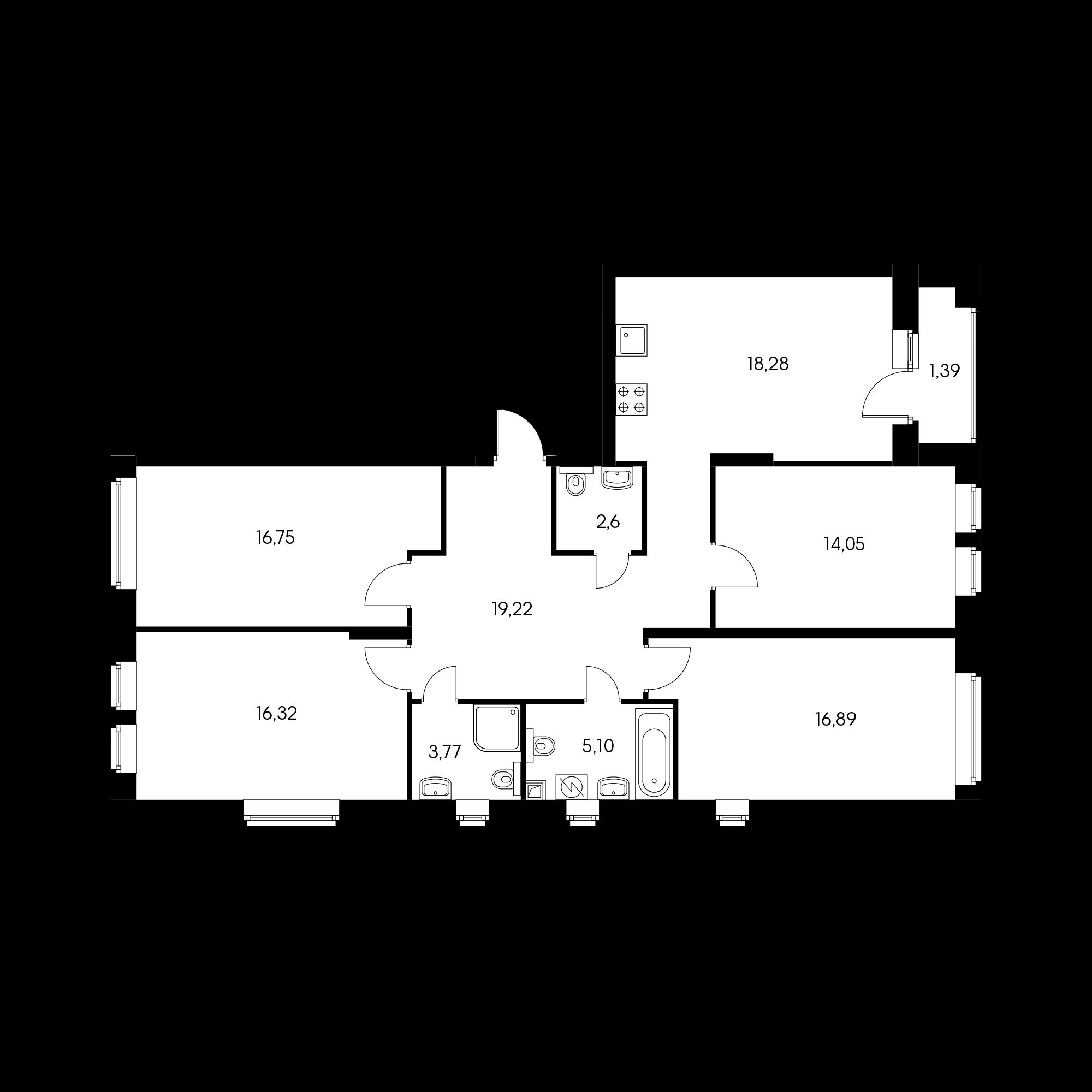 4-комнатная 115.3 м²