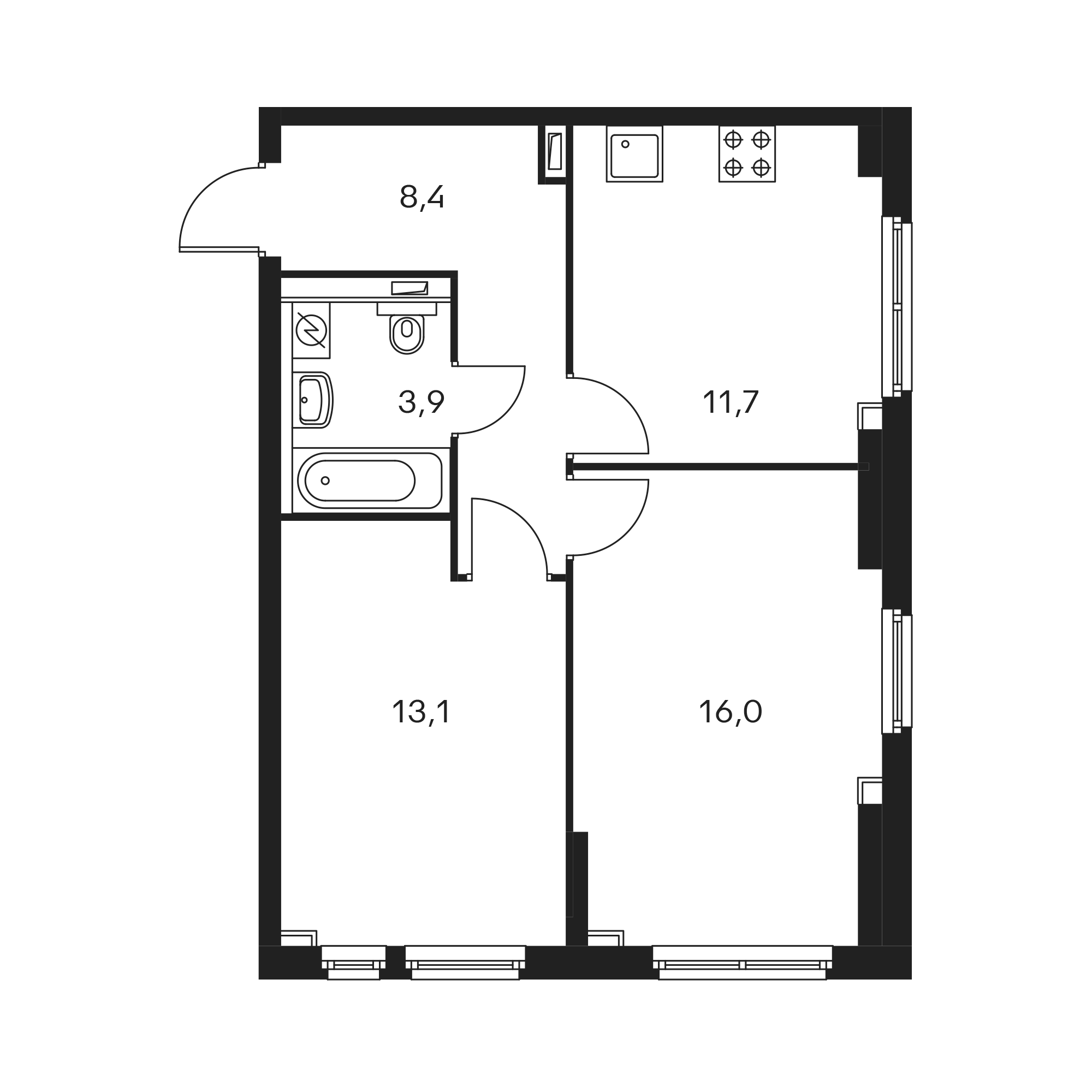2-комнатная 53.5  м²