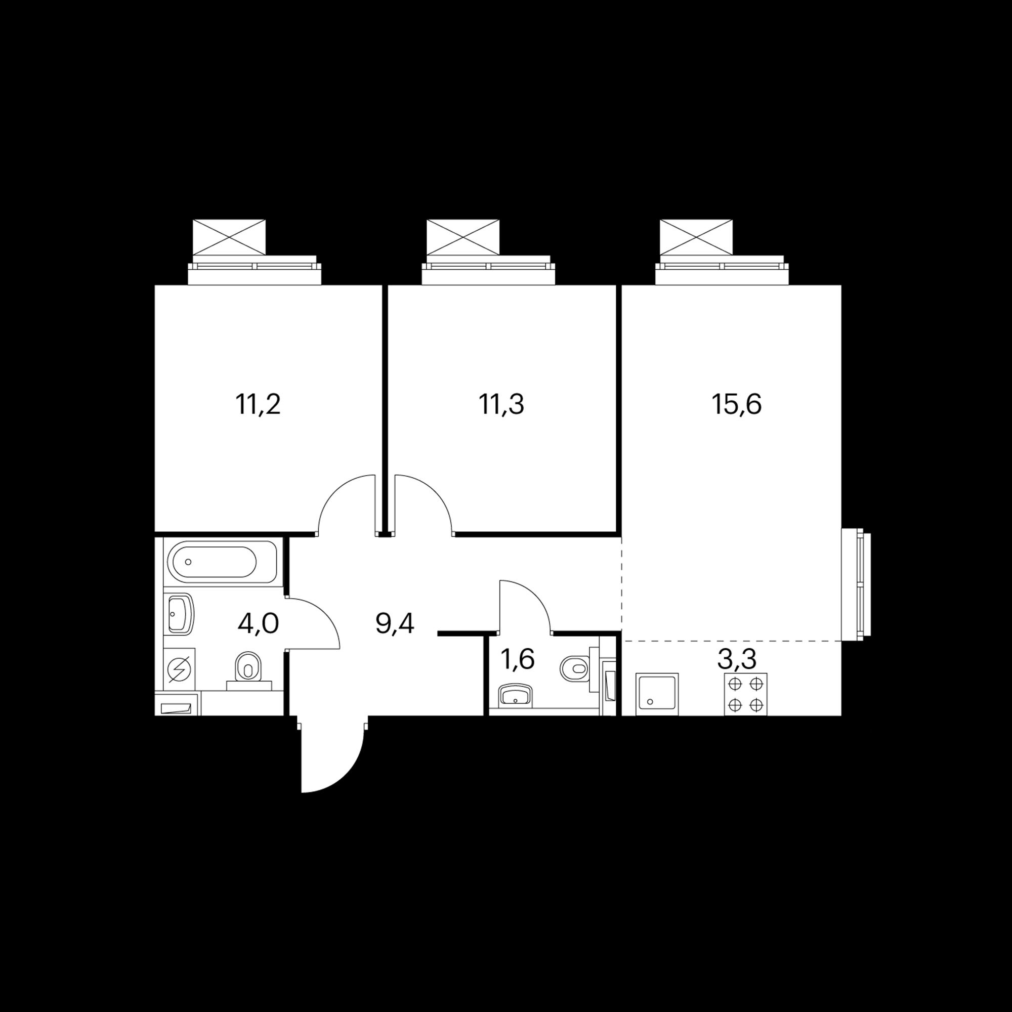 3-комнатная 56.3 м²
