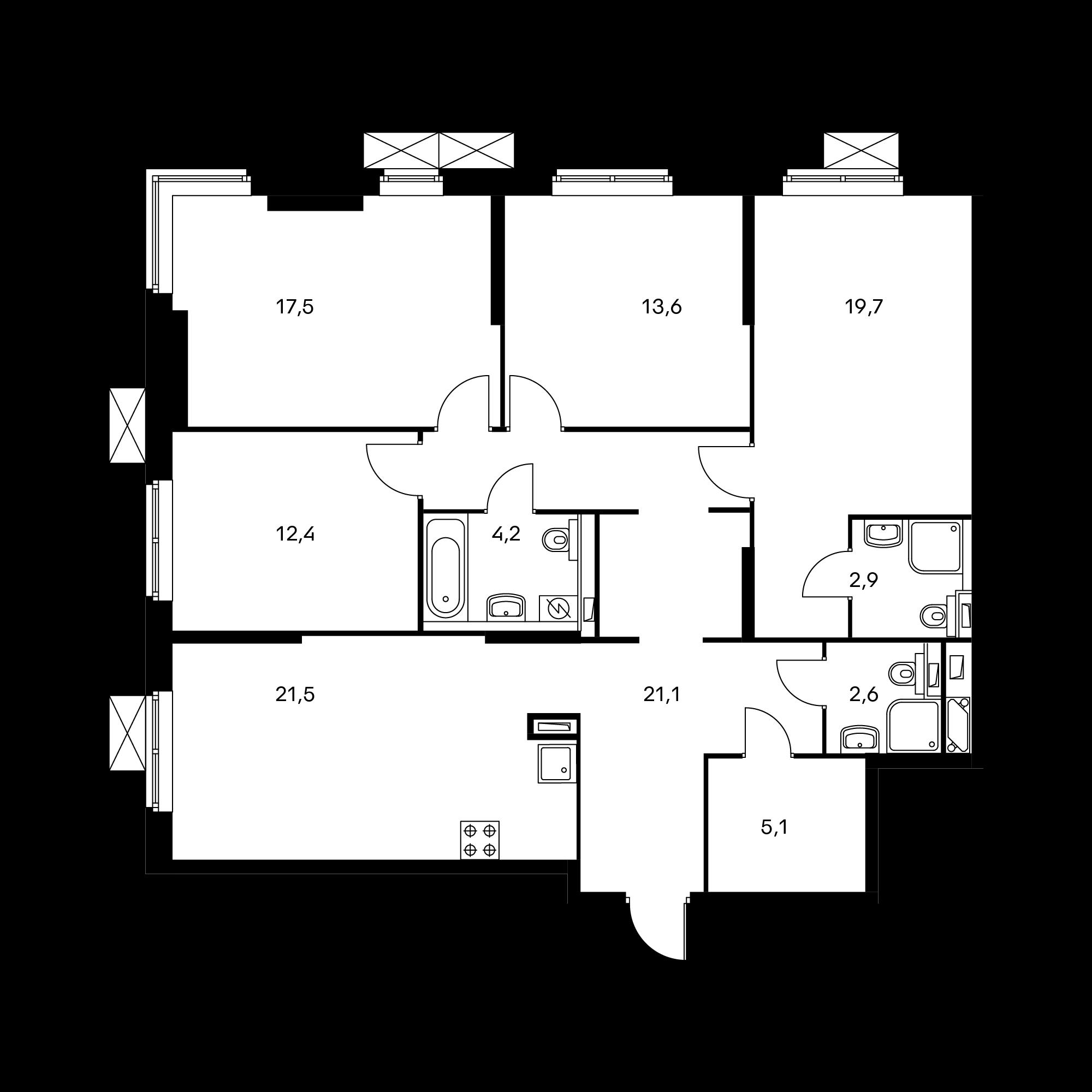4-комнатная 120.5  м²