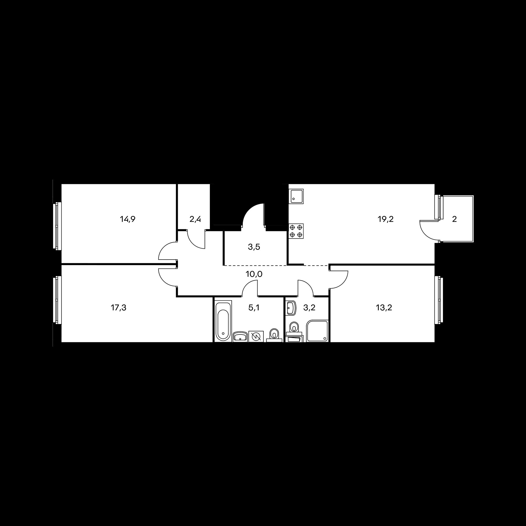 3-комнатная 89.5  м²