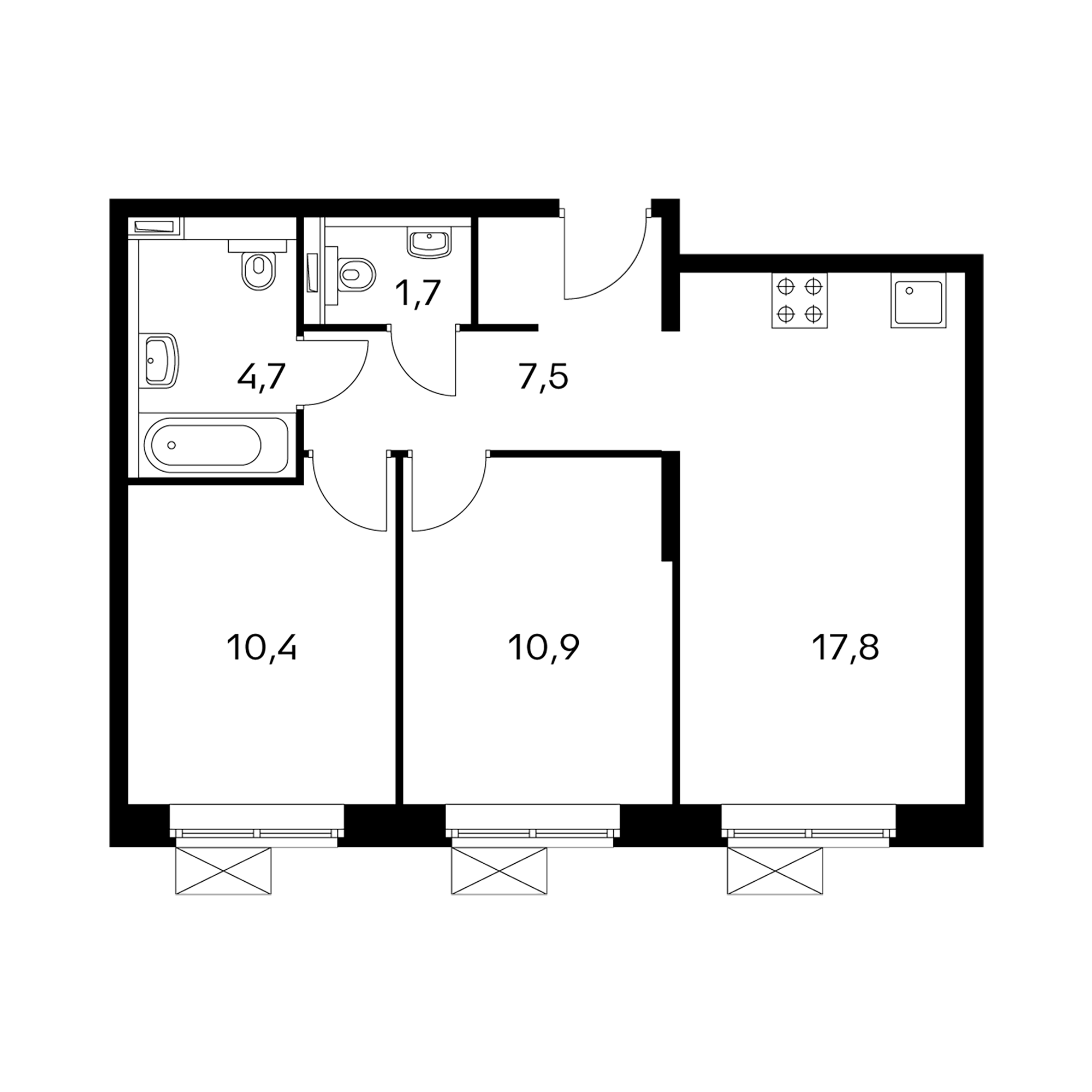 2-комнатные 53 м²