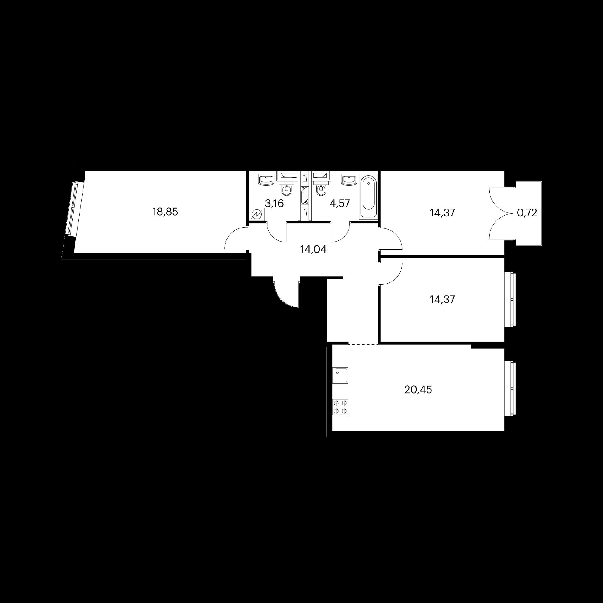 3-комнатная 90.53  м²