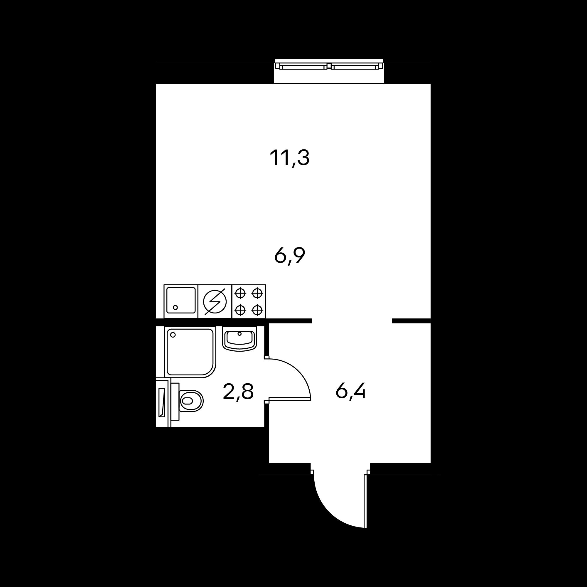 Студия 27.4  м²