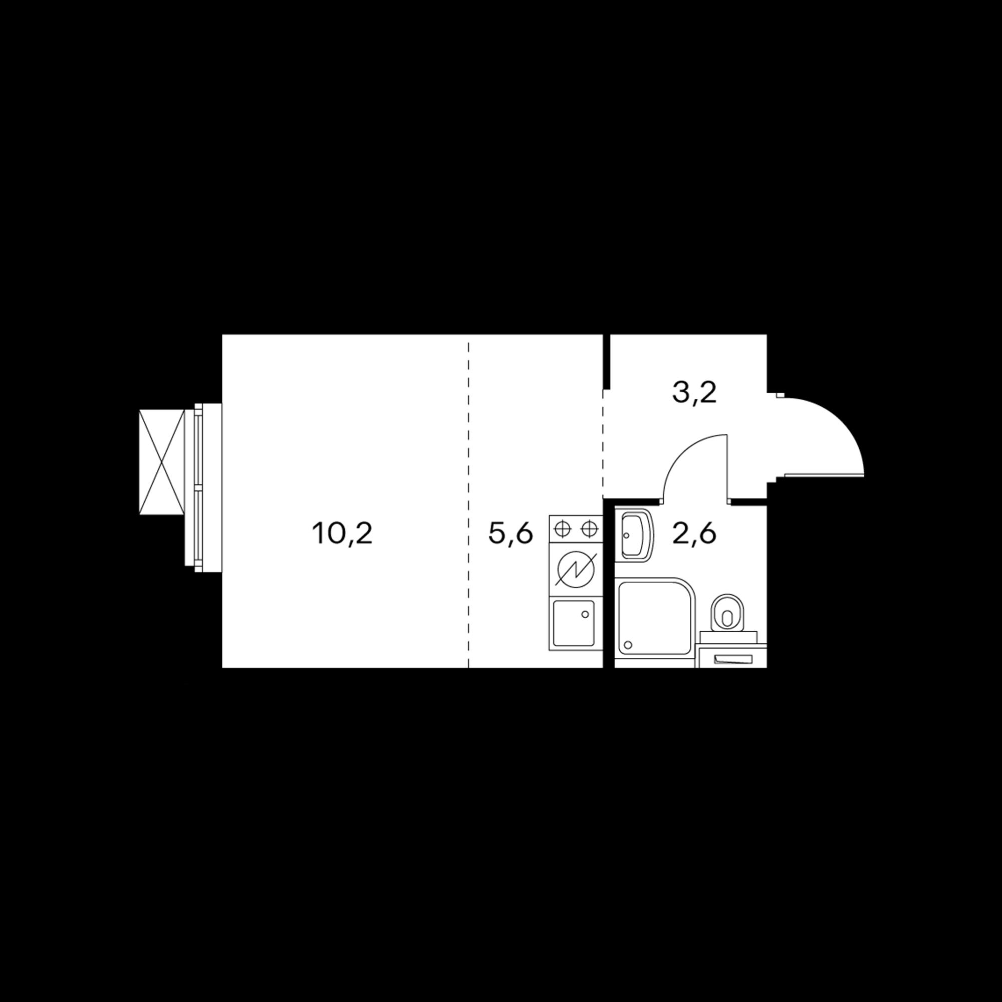 Студия 21.6  м²