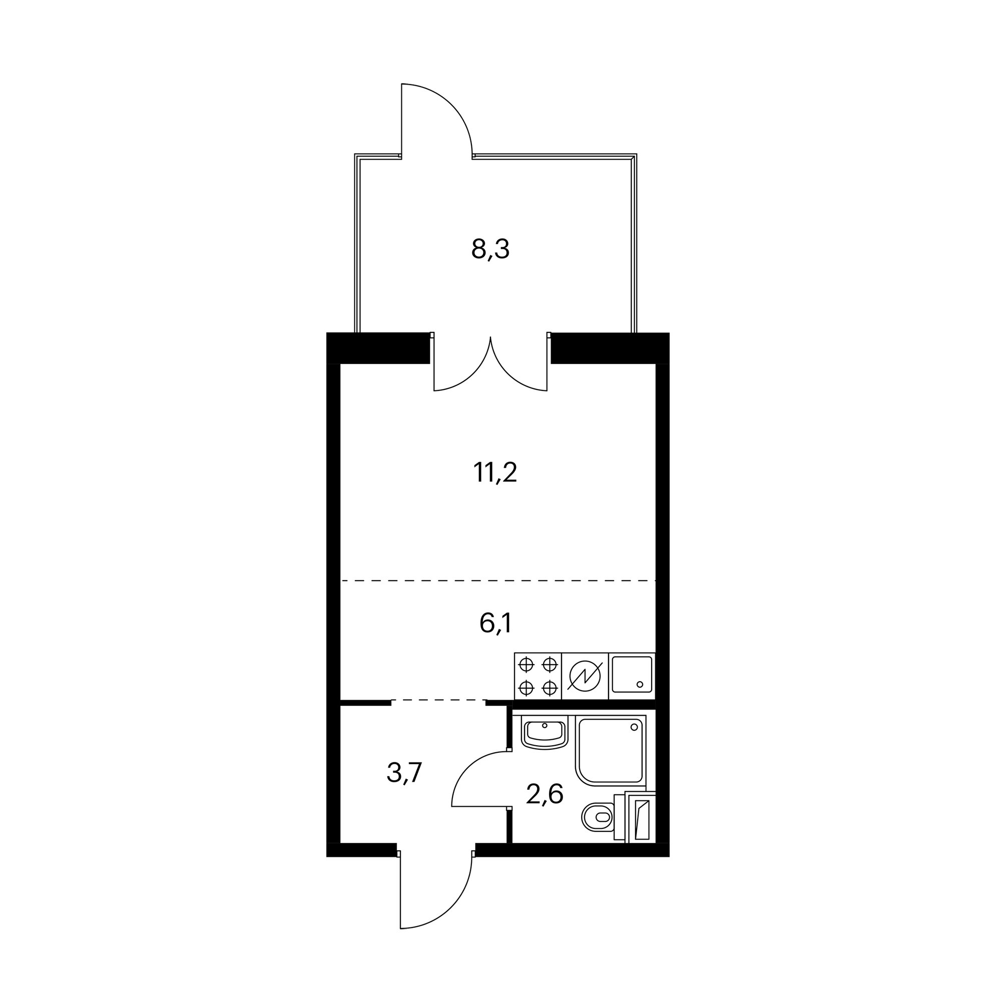 Студия 26.1 м²
