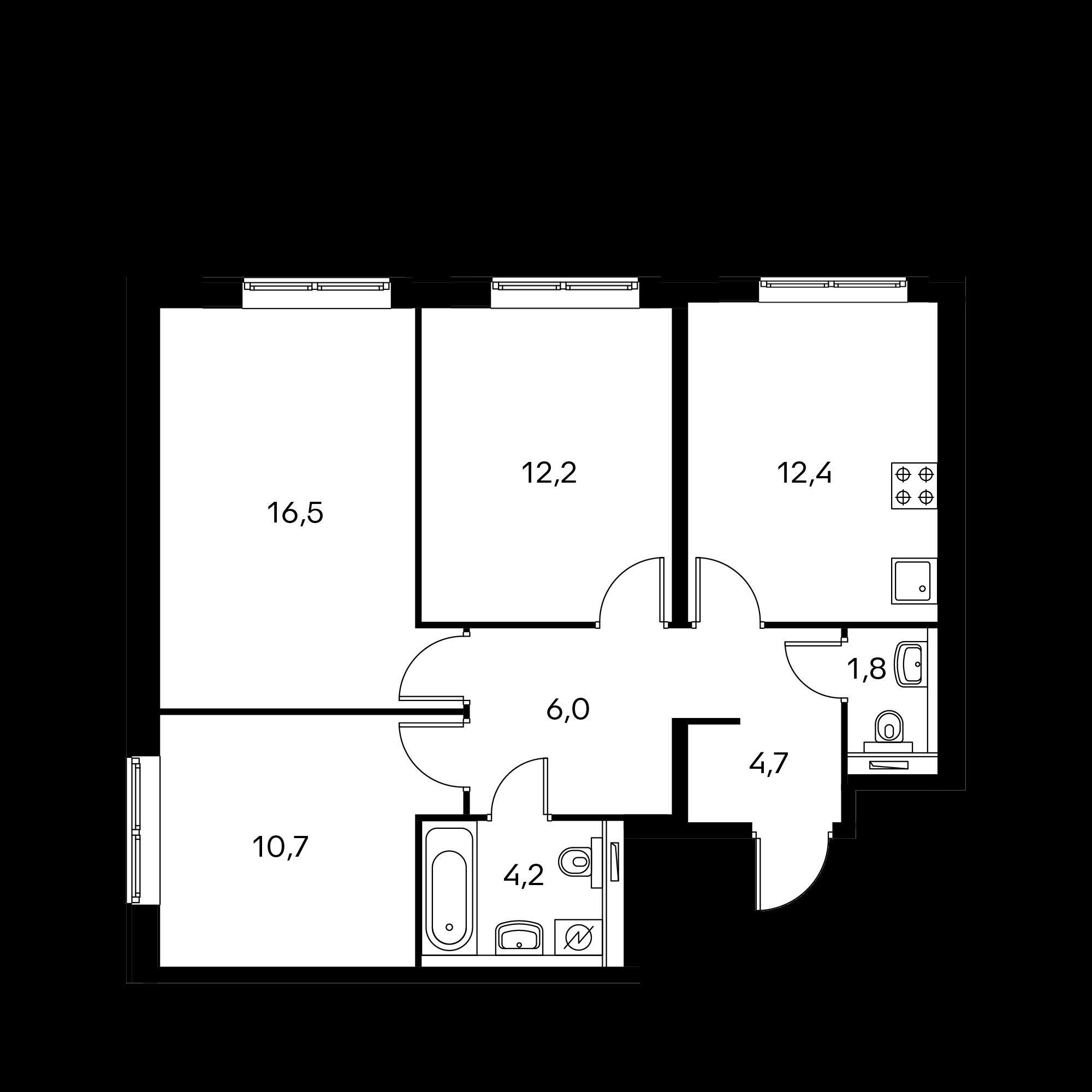 3-комнатная 68.5 м²