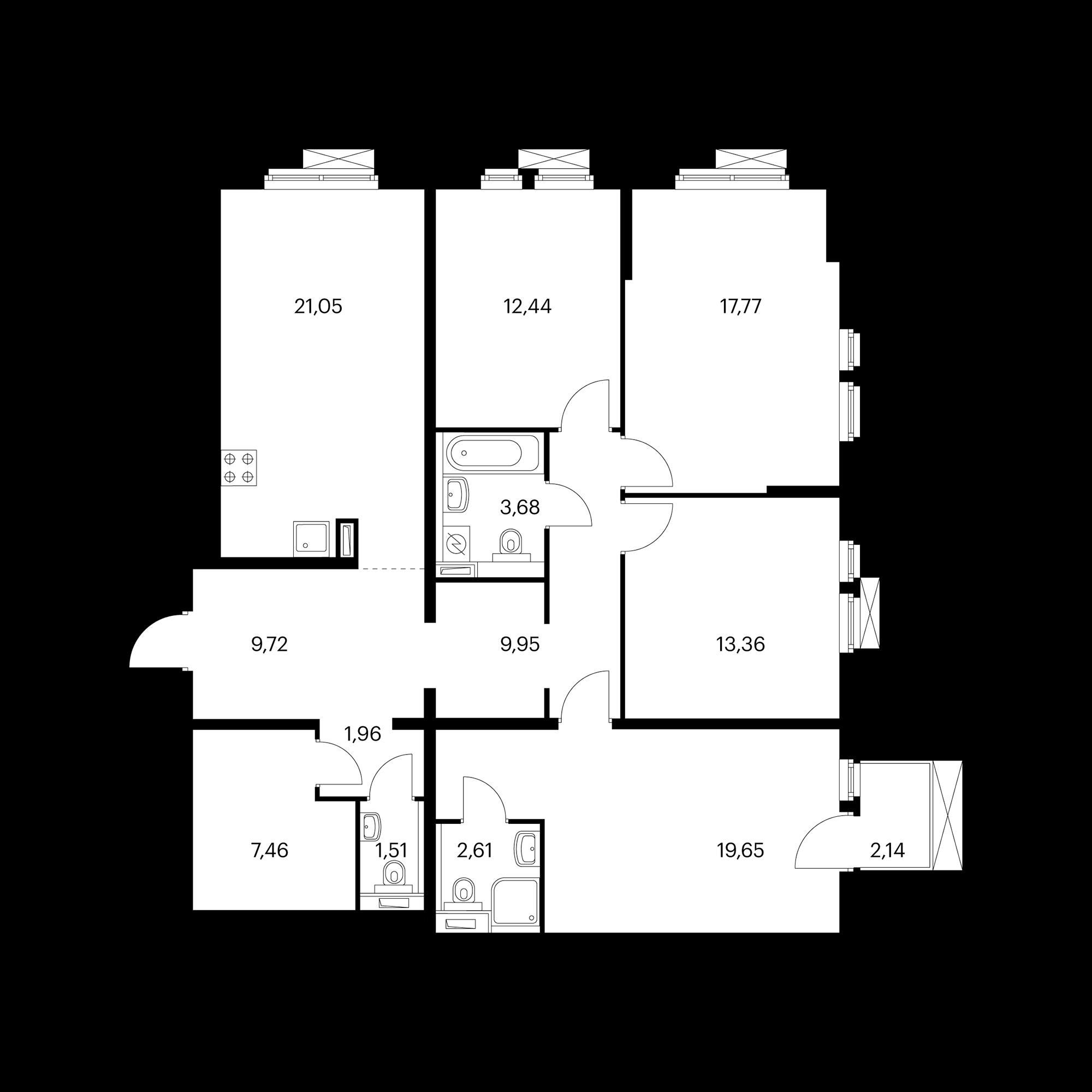 4-комнатная 121.8 м²