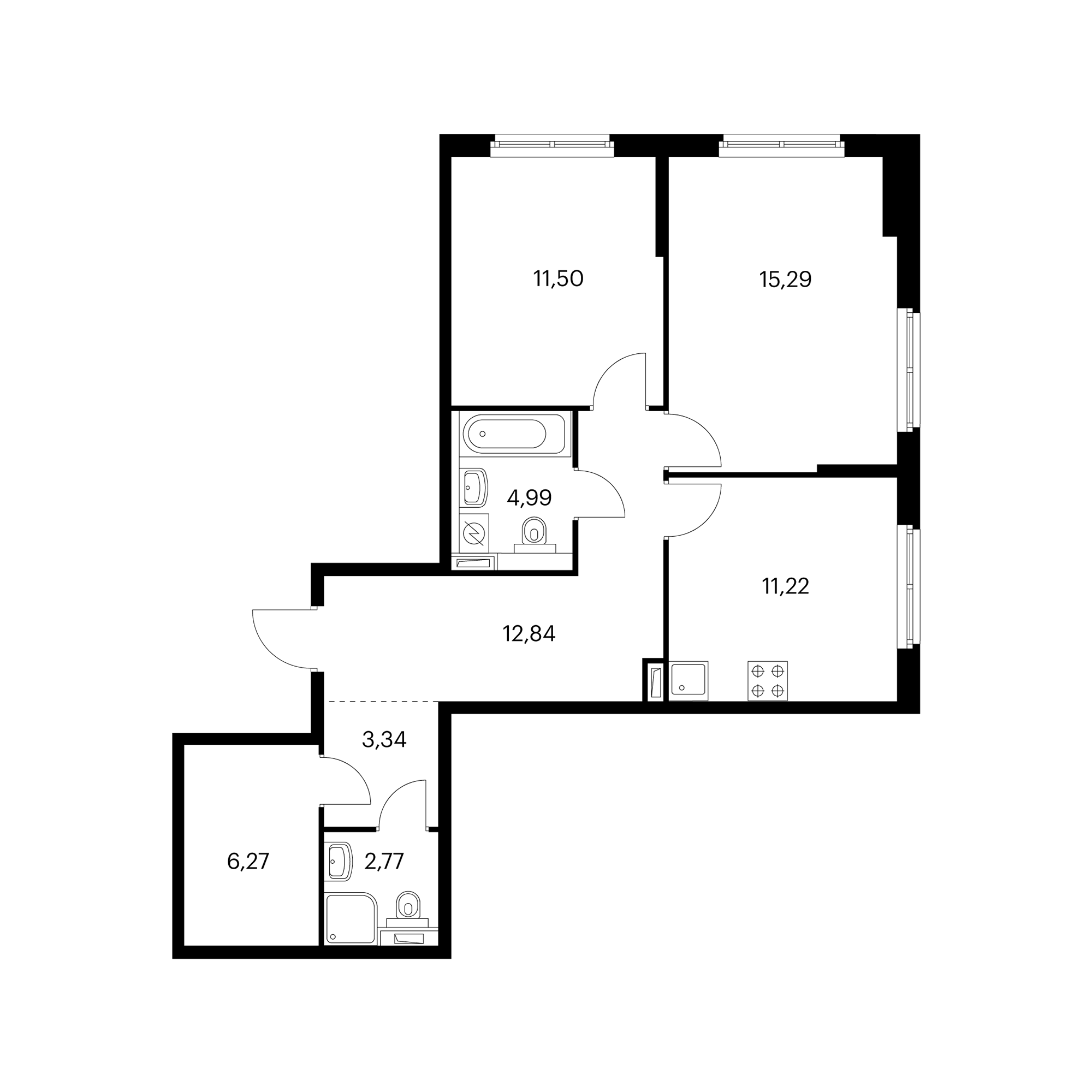2-комнатная 67.38 м²