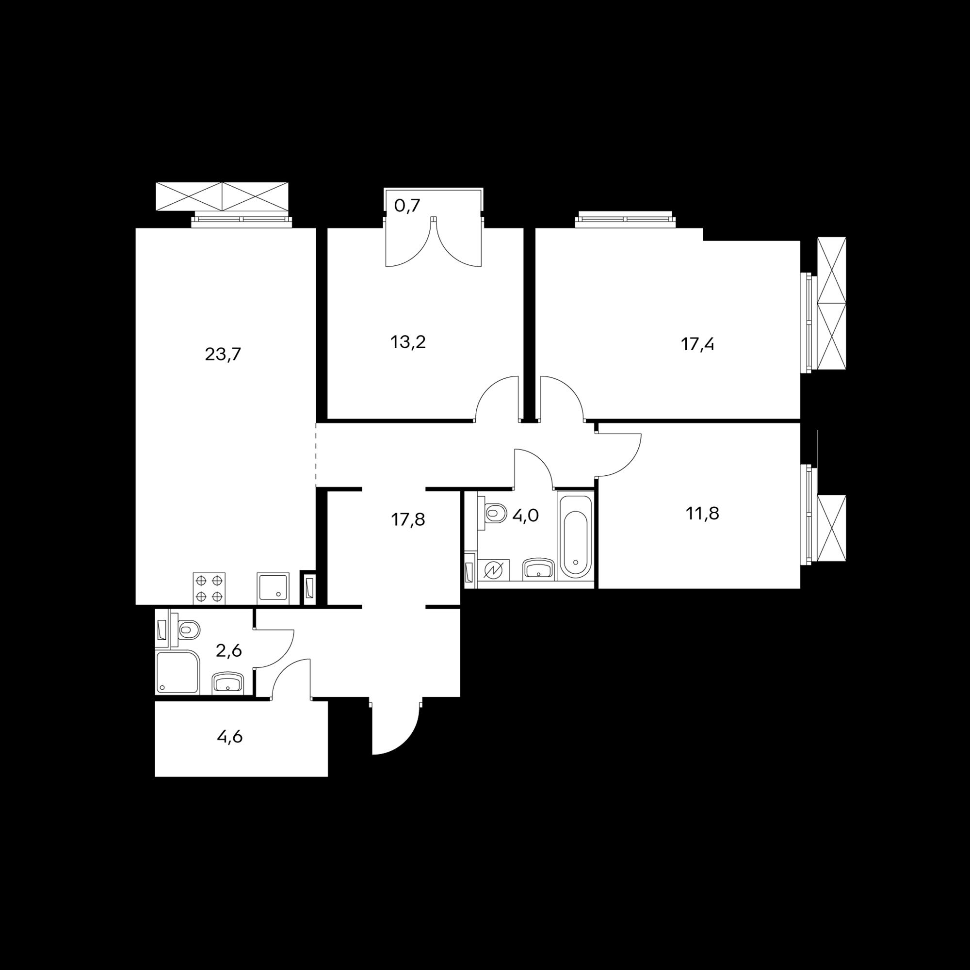 3-комнатная 95.3 м²