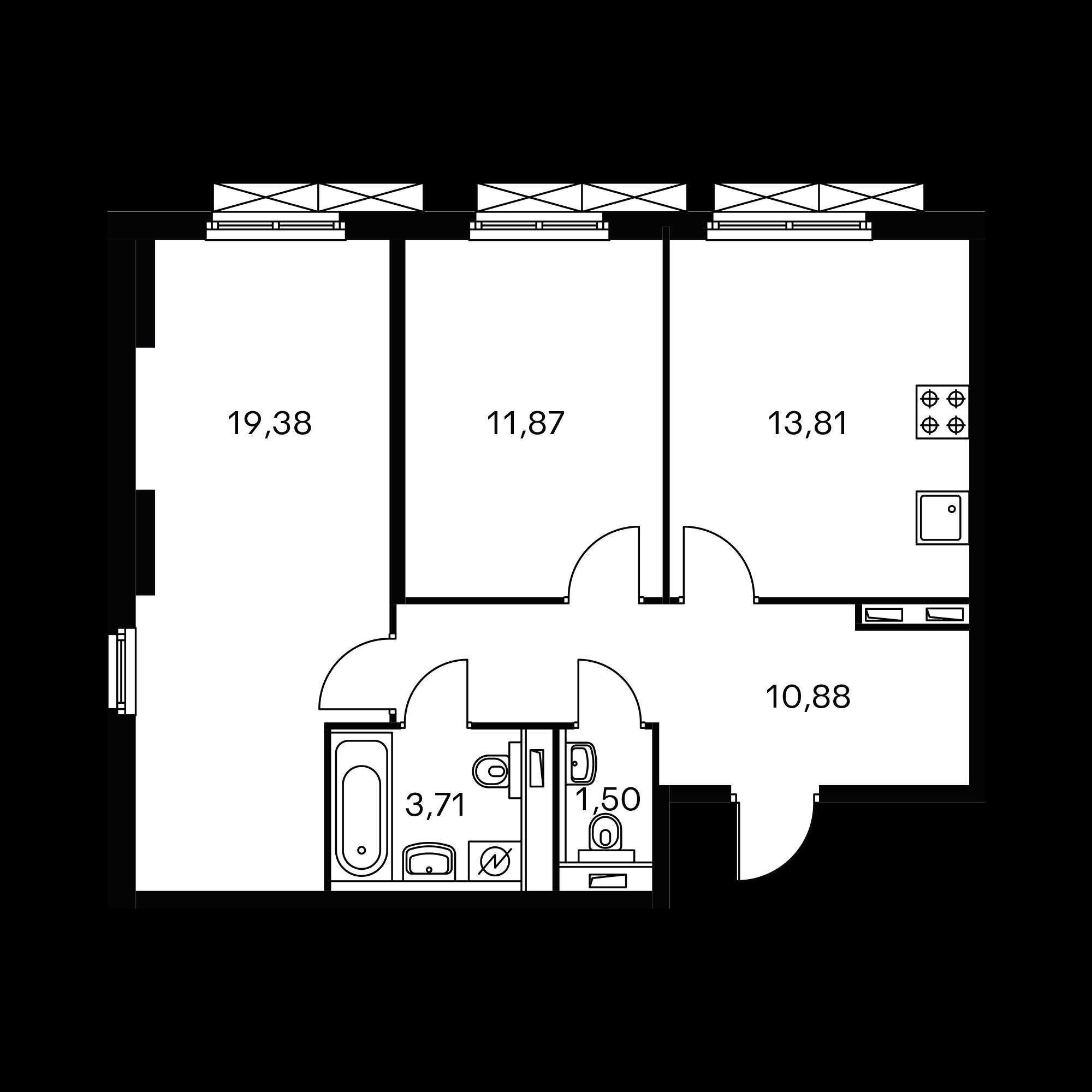 2-комнатная 61.15 м²