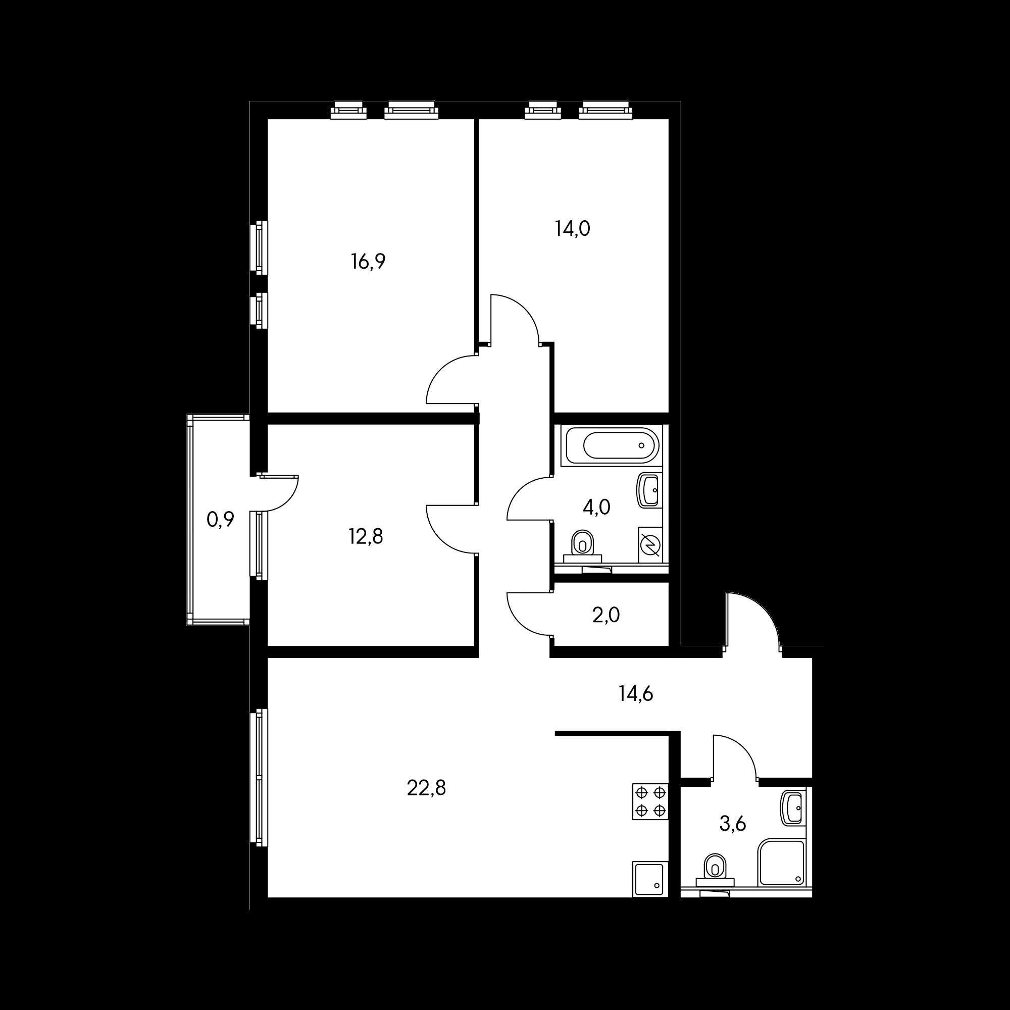 3-комнатная 91.6 м²