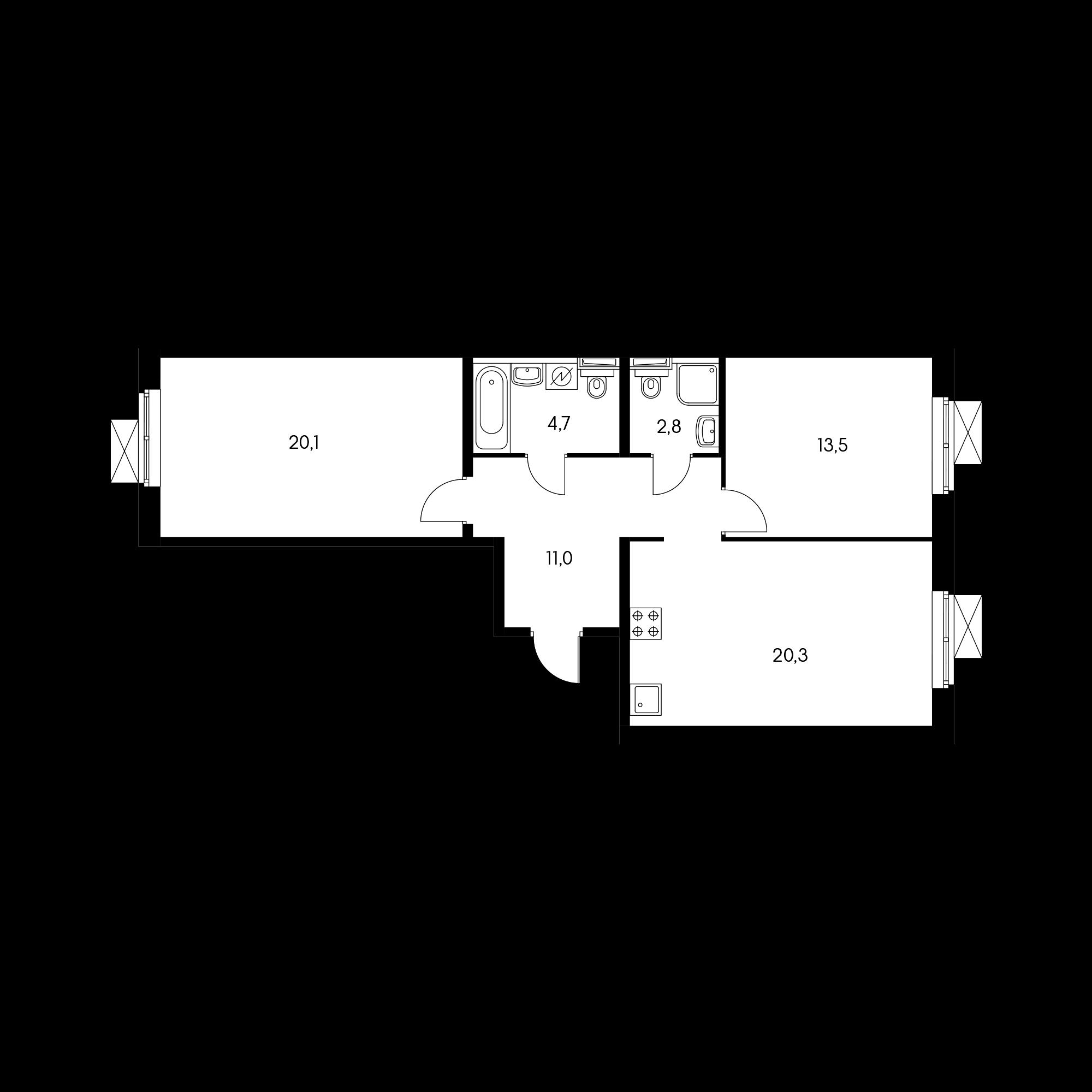 2-комнатная 71.6  м²