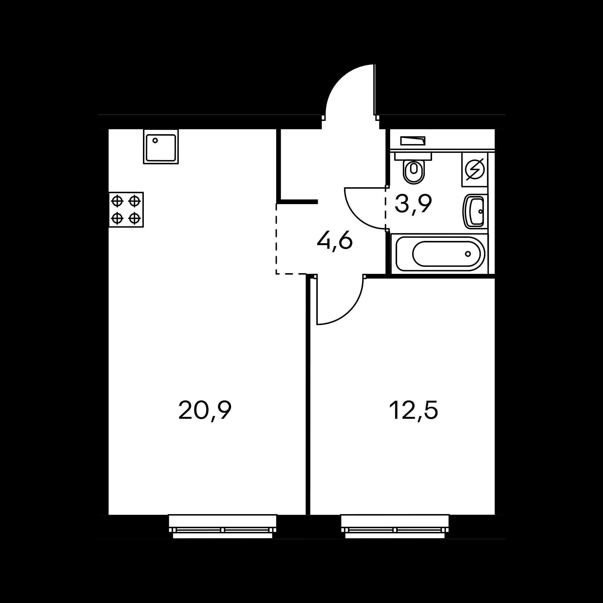 1-комнатная 41.9  м²