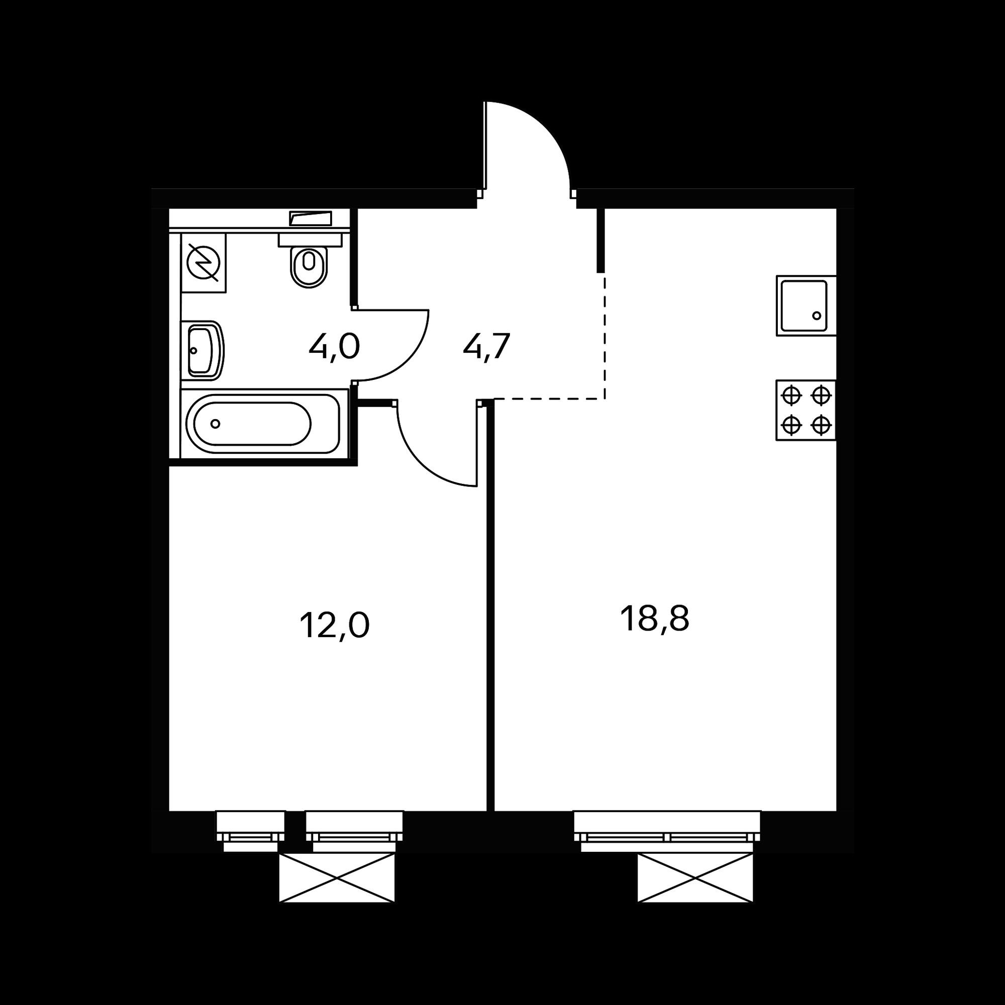1-комнатная 39.8  м²