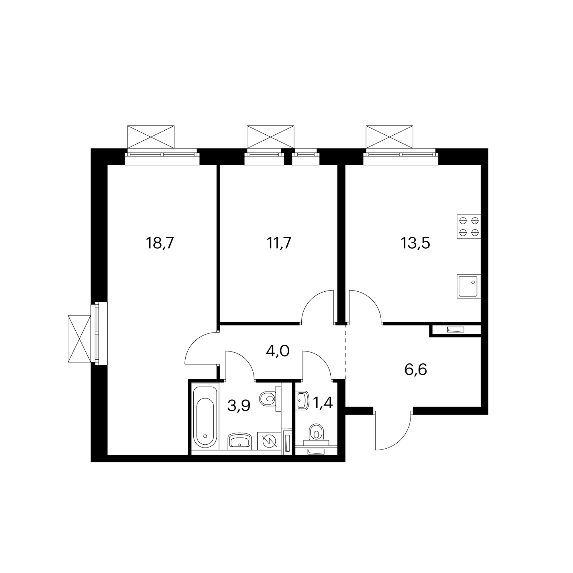 2-комнатная 59.8  м²