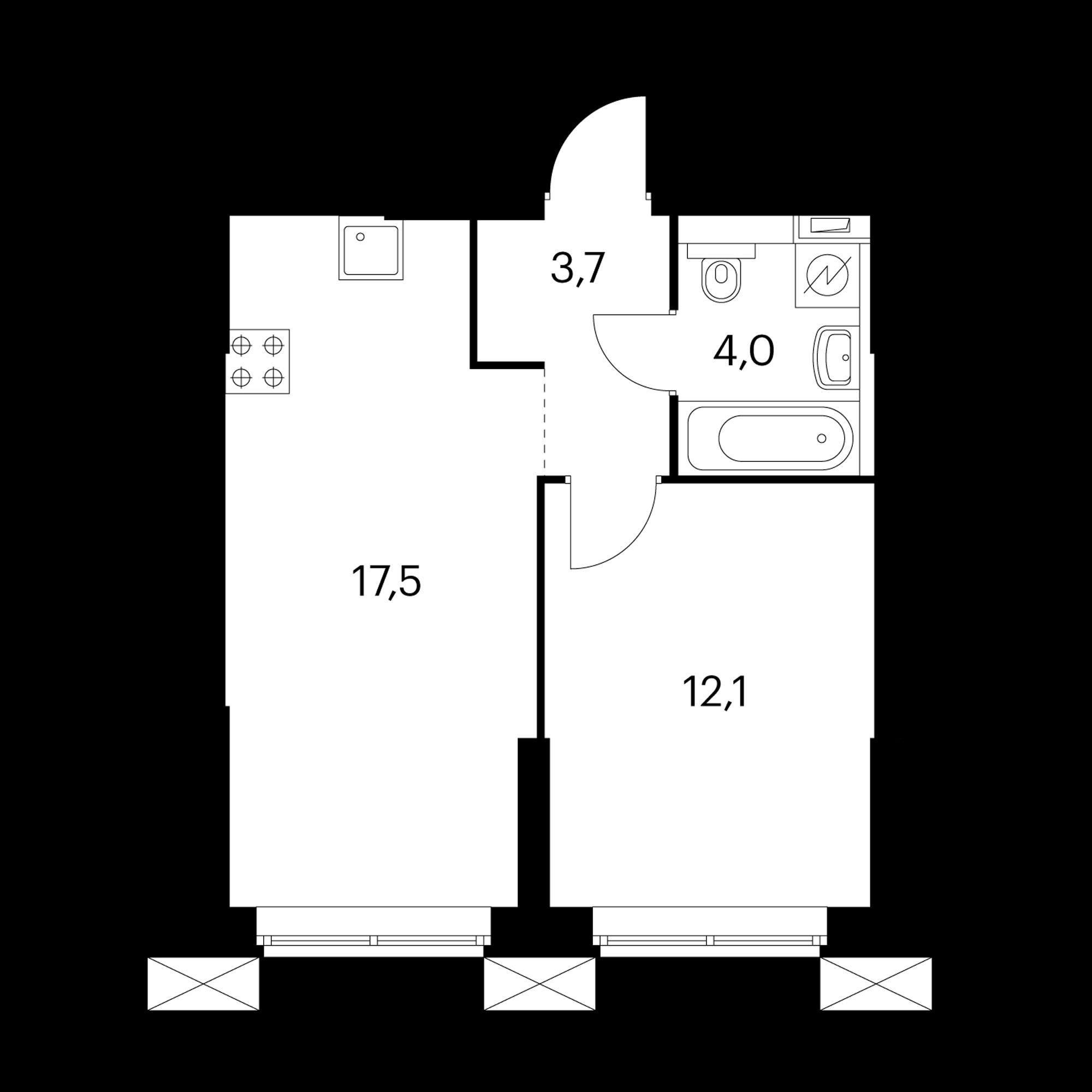1-комнатные 37.5 м²