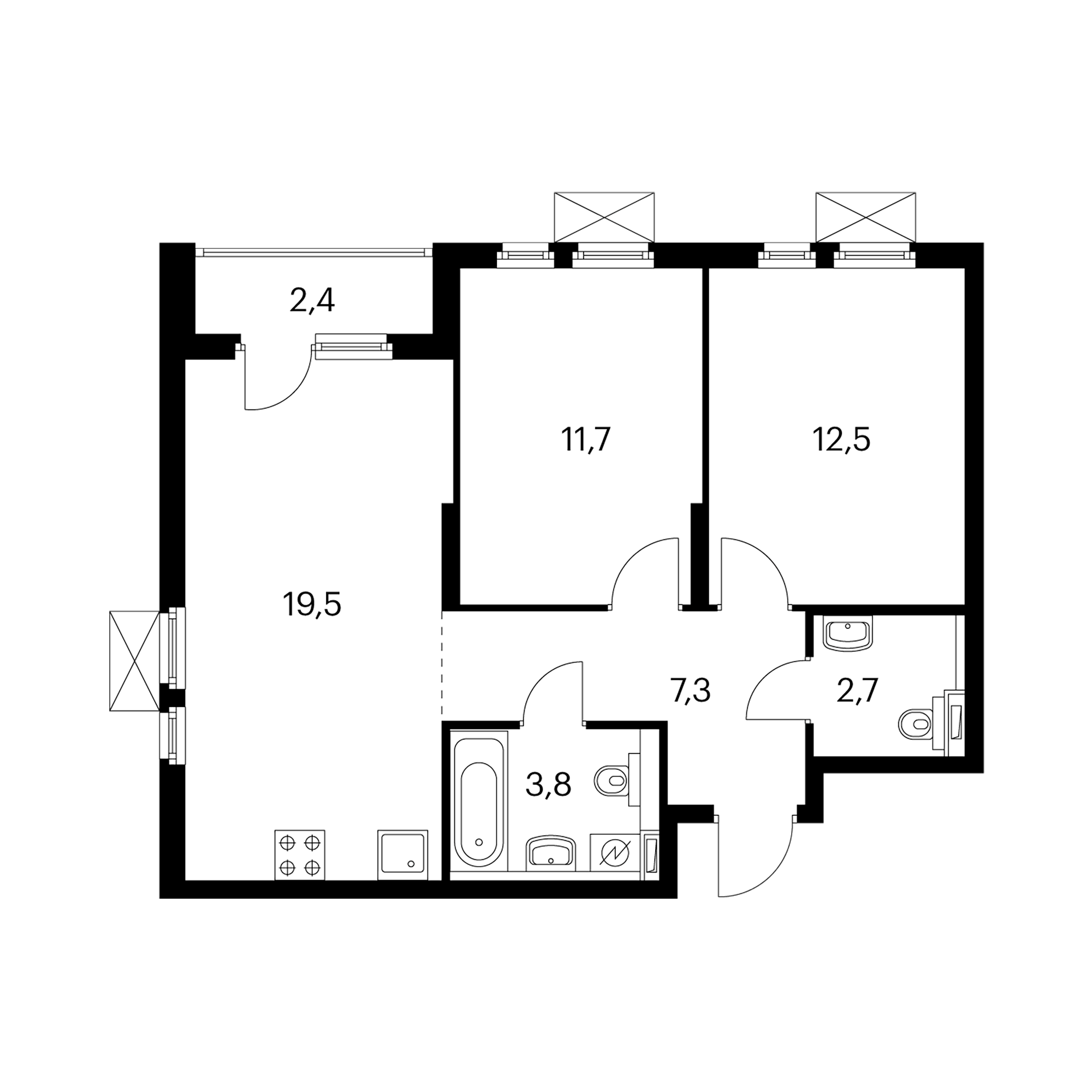 2-комнатная 58.8  м²