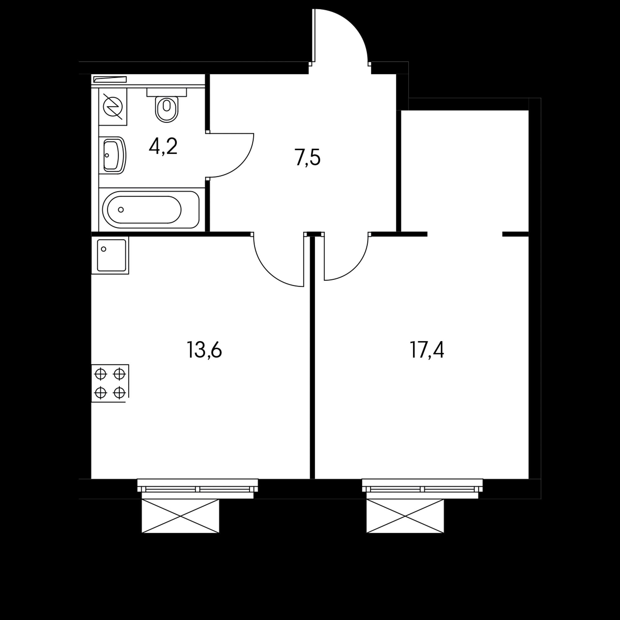 1-комнатная 42.7 м²