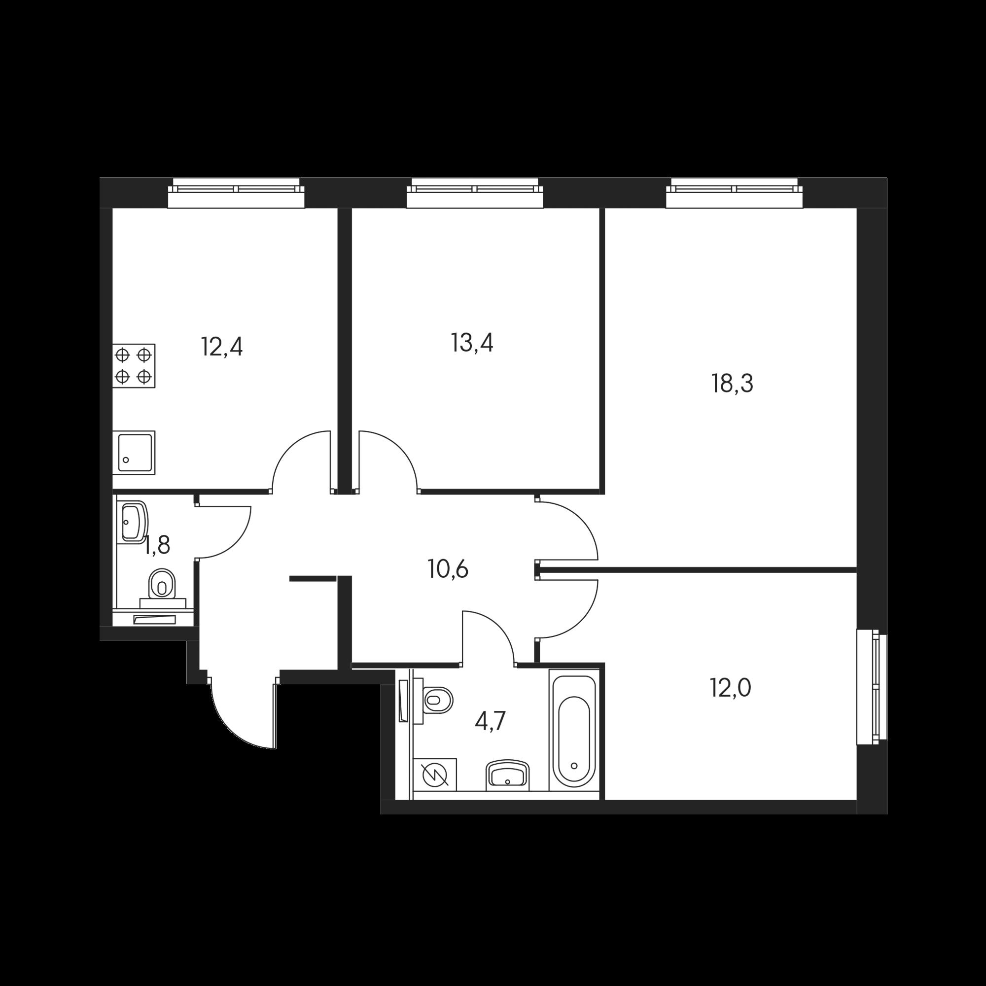 3-комнатная 72.7  м²