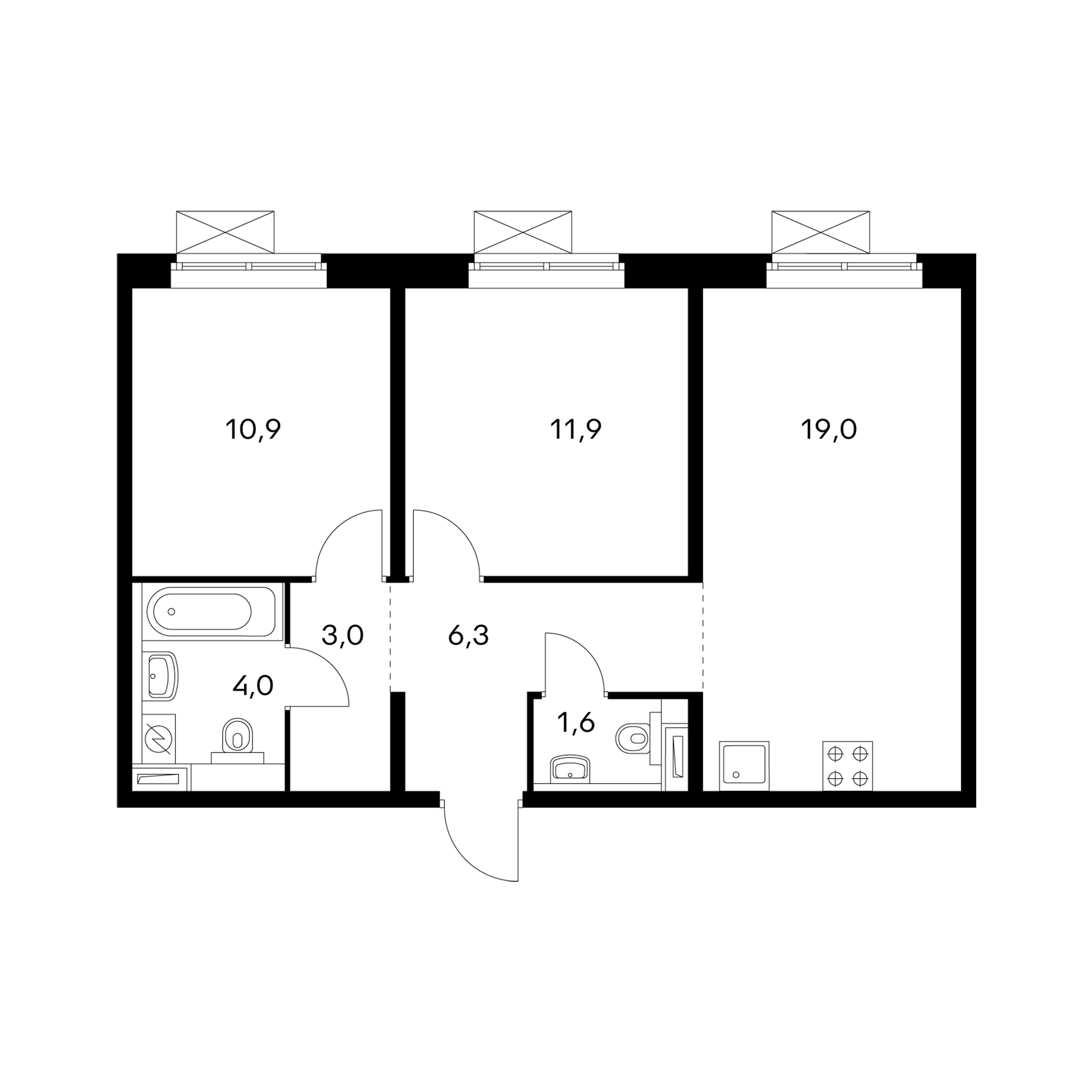 2-комнатная 56.7 м²