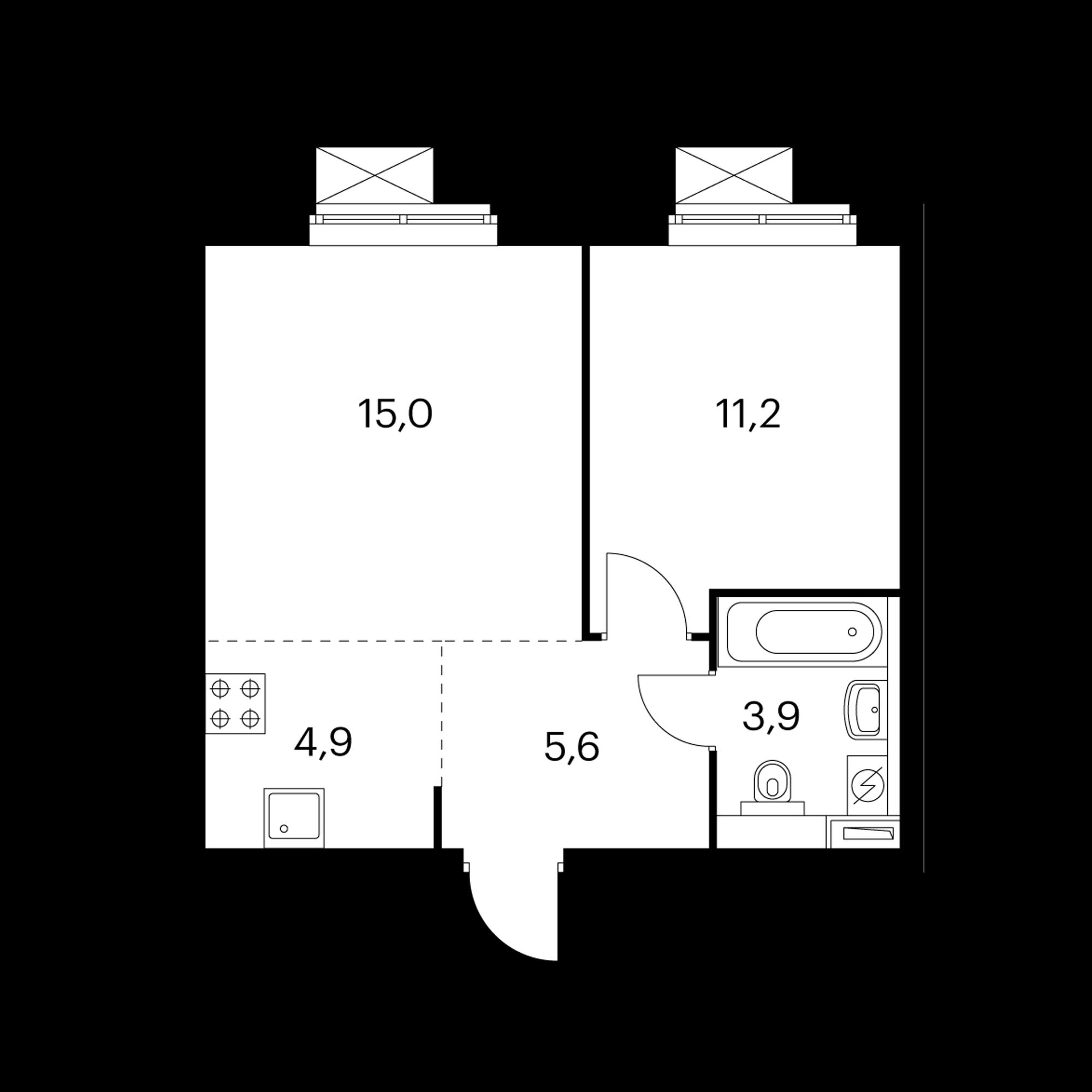 2-комнатная 40.6 м²