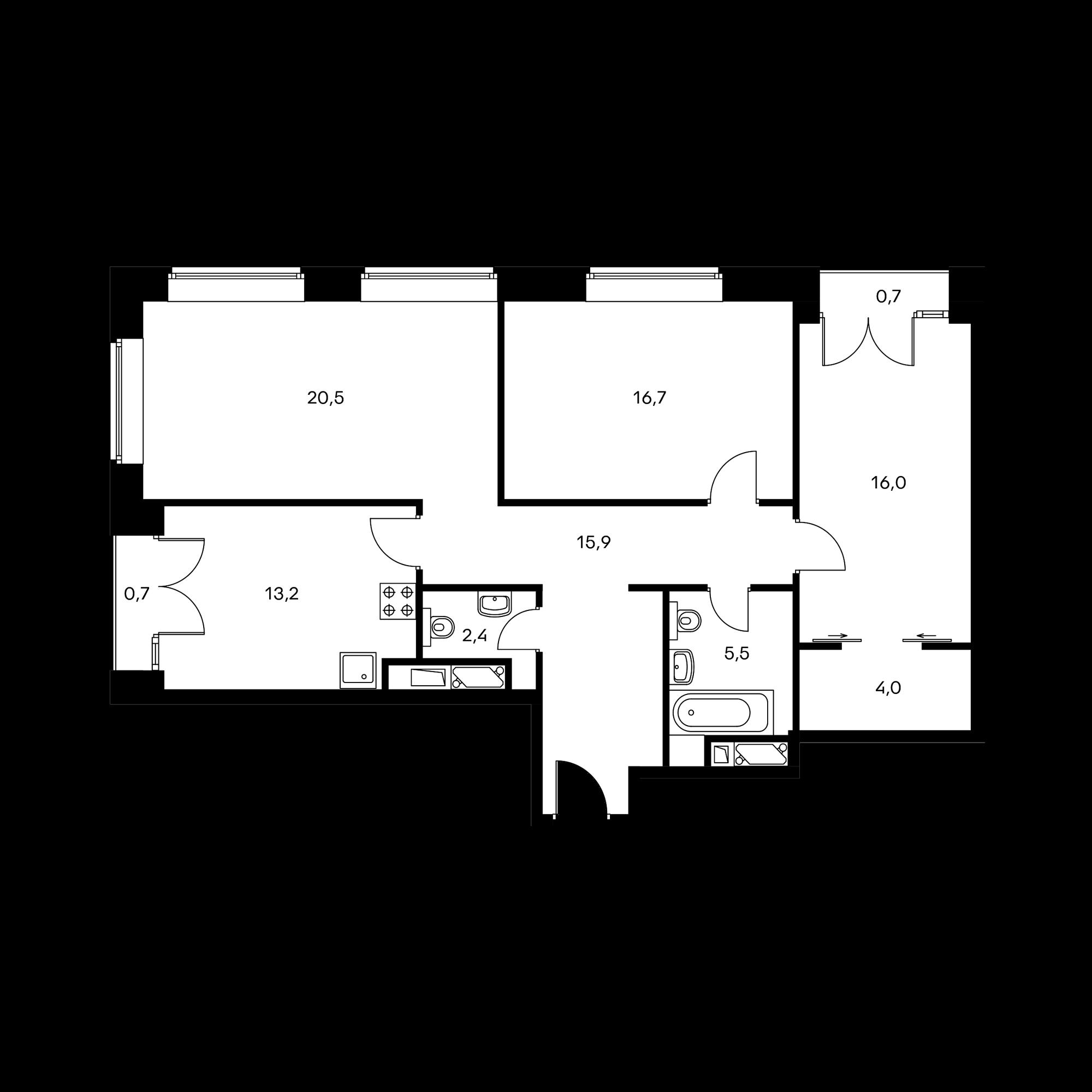 3-комнатная 95.6 м²
