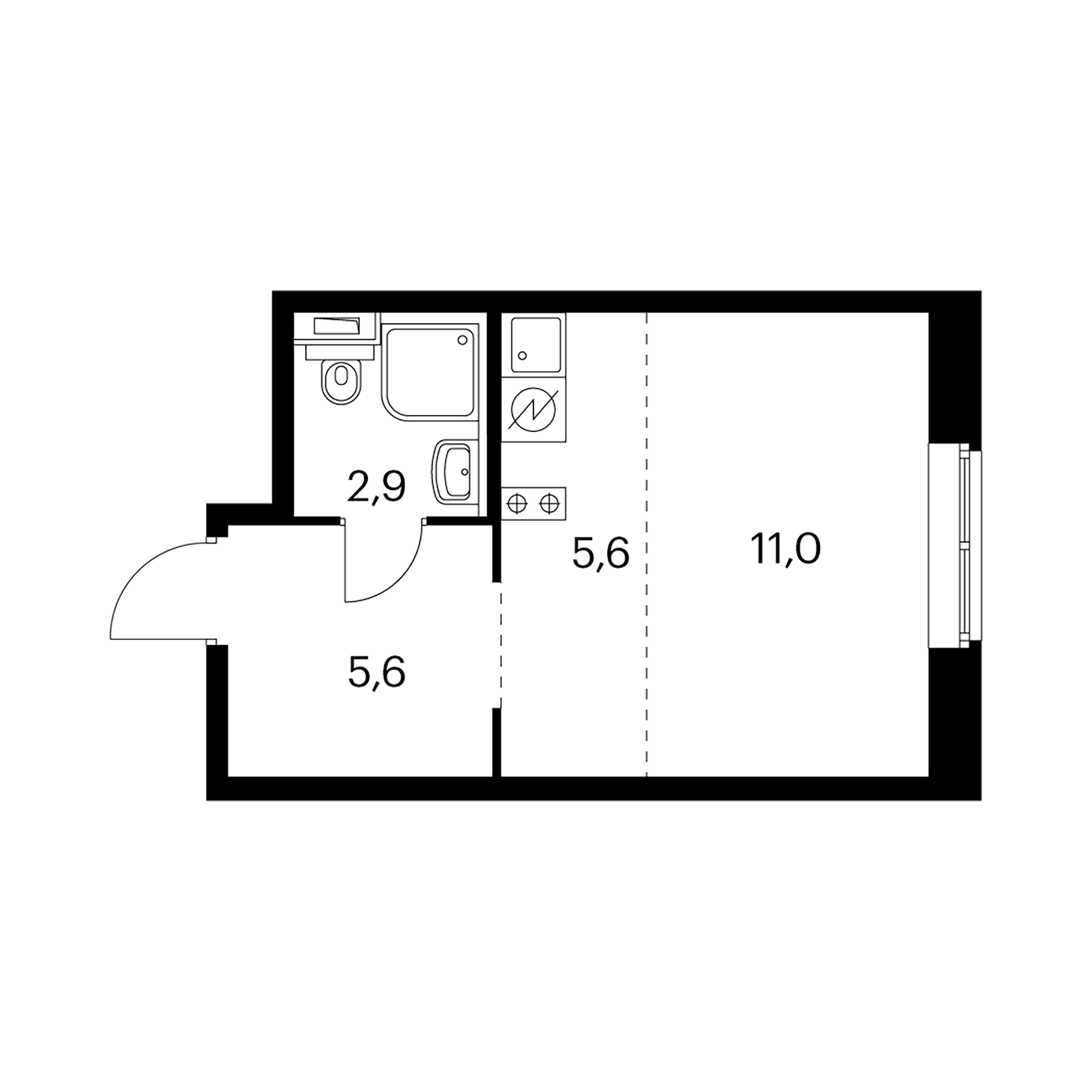 Студия 25.1  м²
