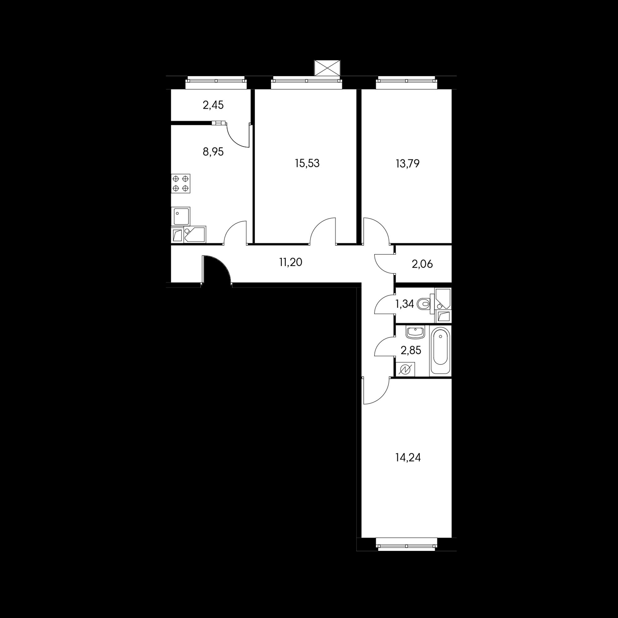 3-комнатная 69.3  м²