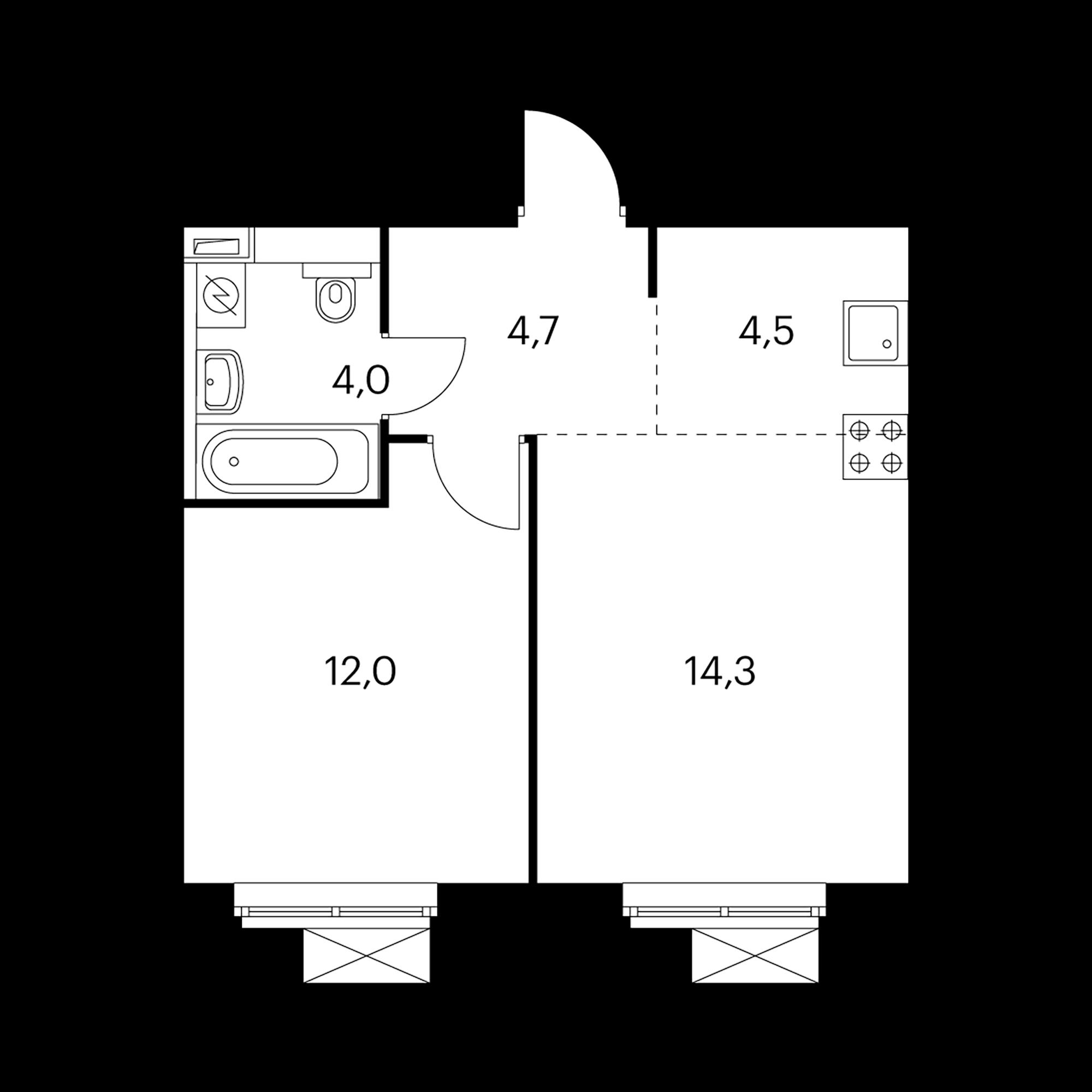 2-комнатная 39.5 м²