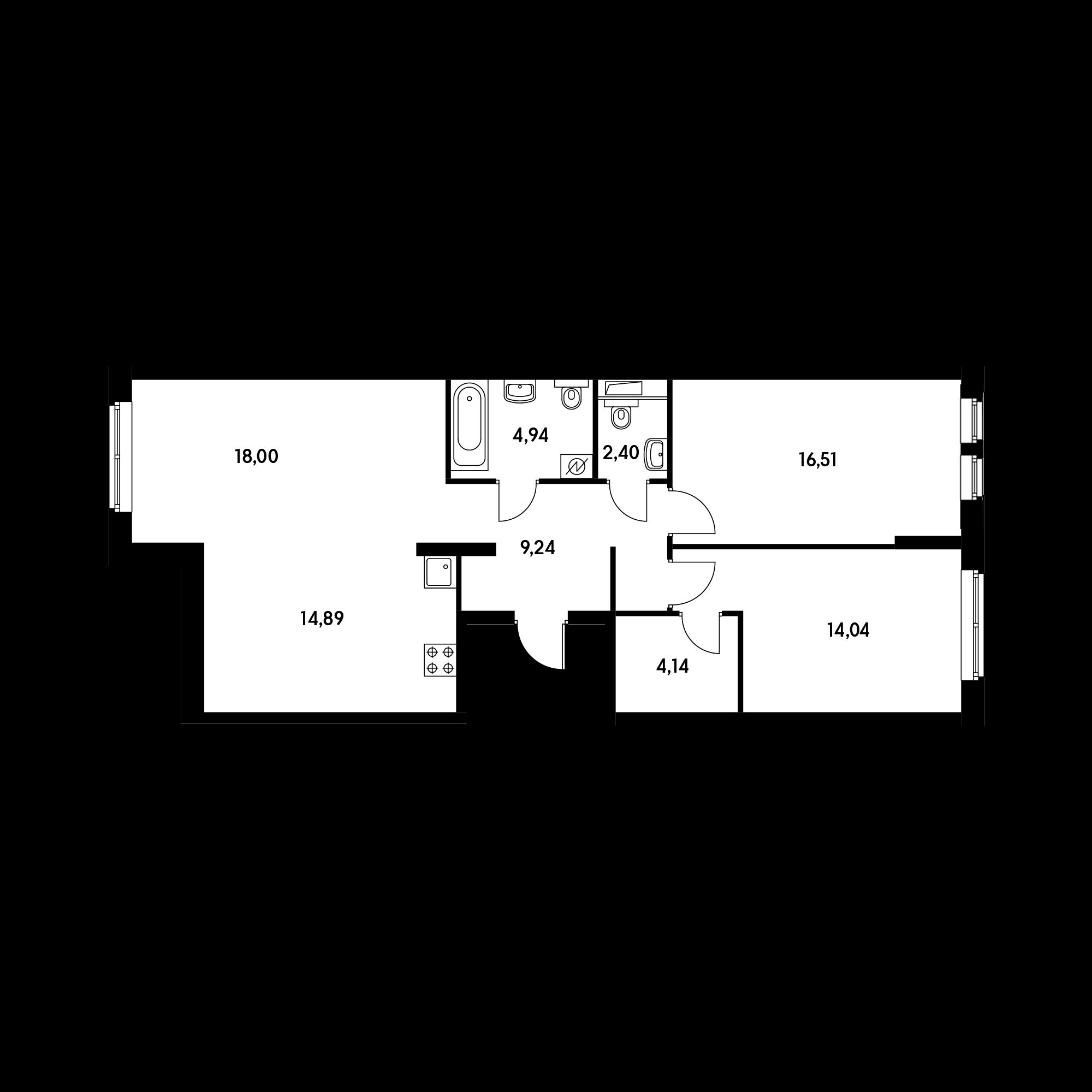 3-комнатная 84.16 м²