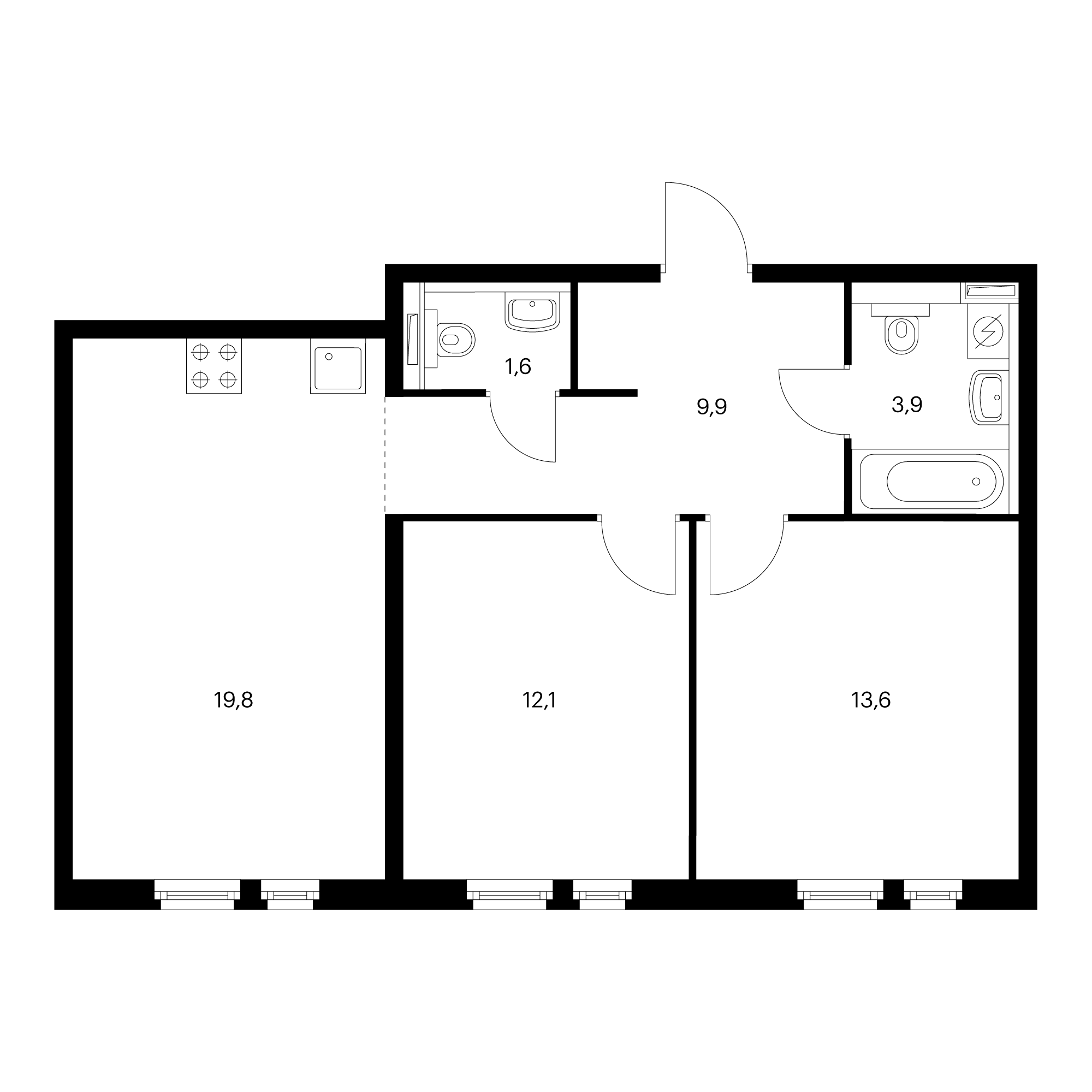 2-комнатная 60.9 м²