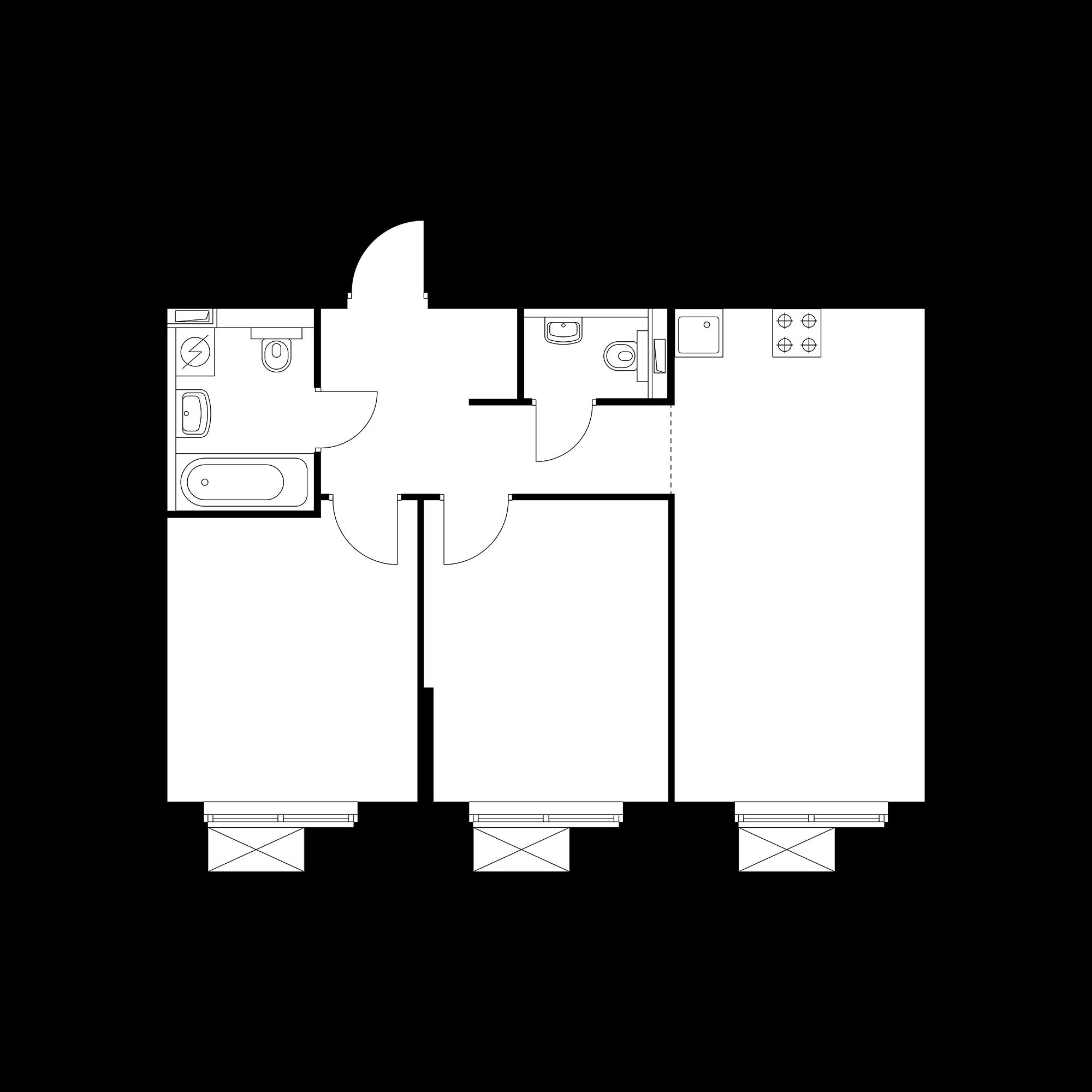 2-комнатная 54.74 м²