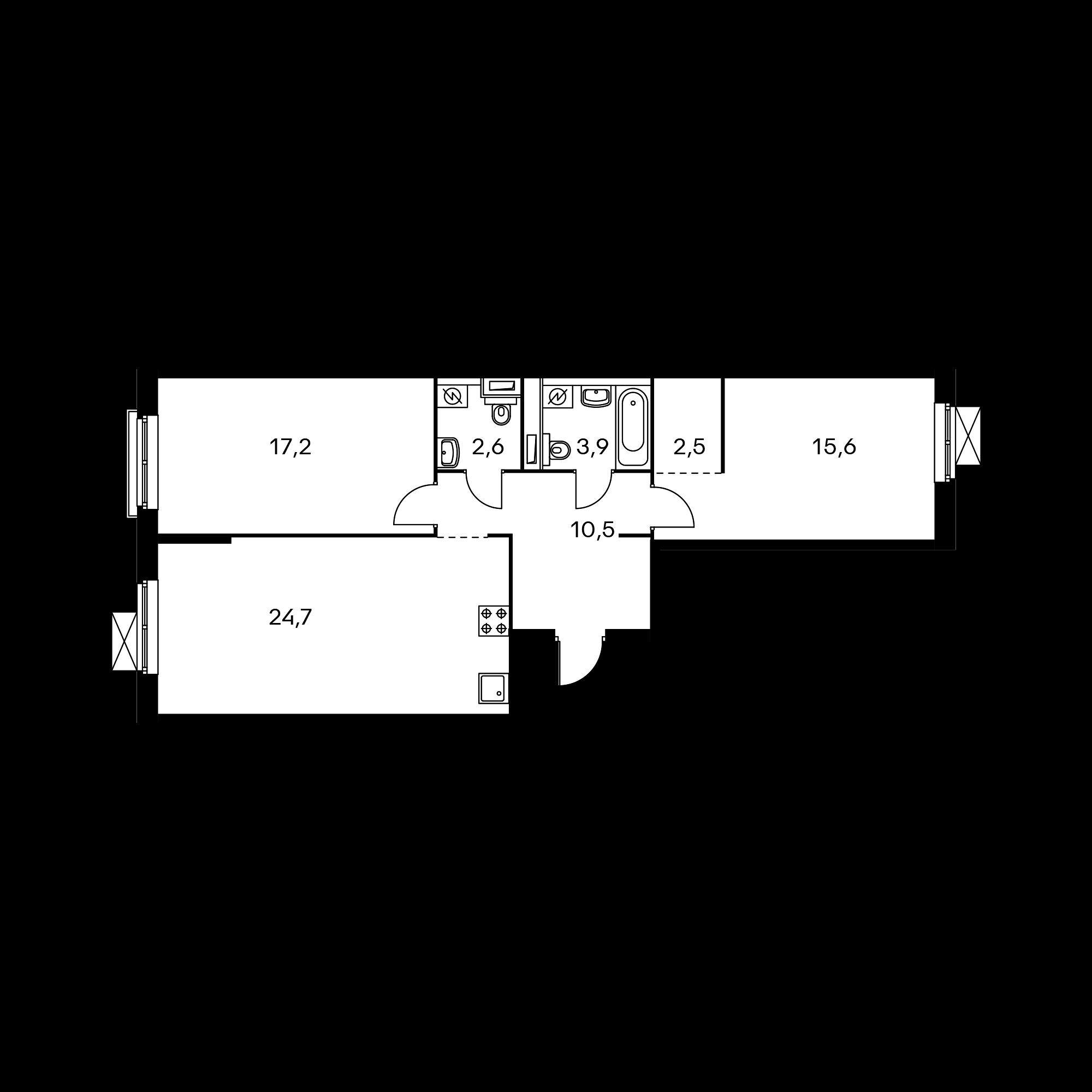 2-комнатная 77 м²