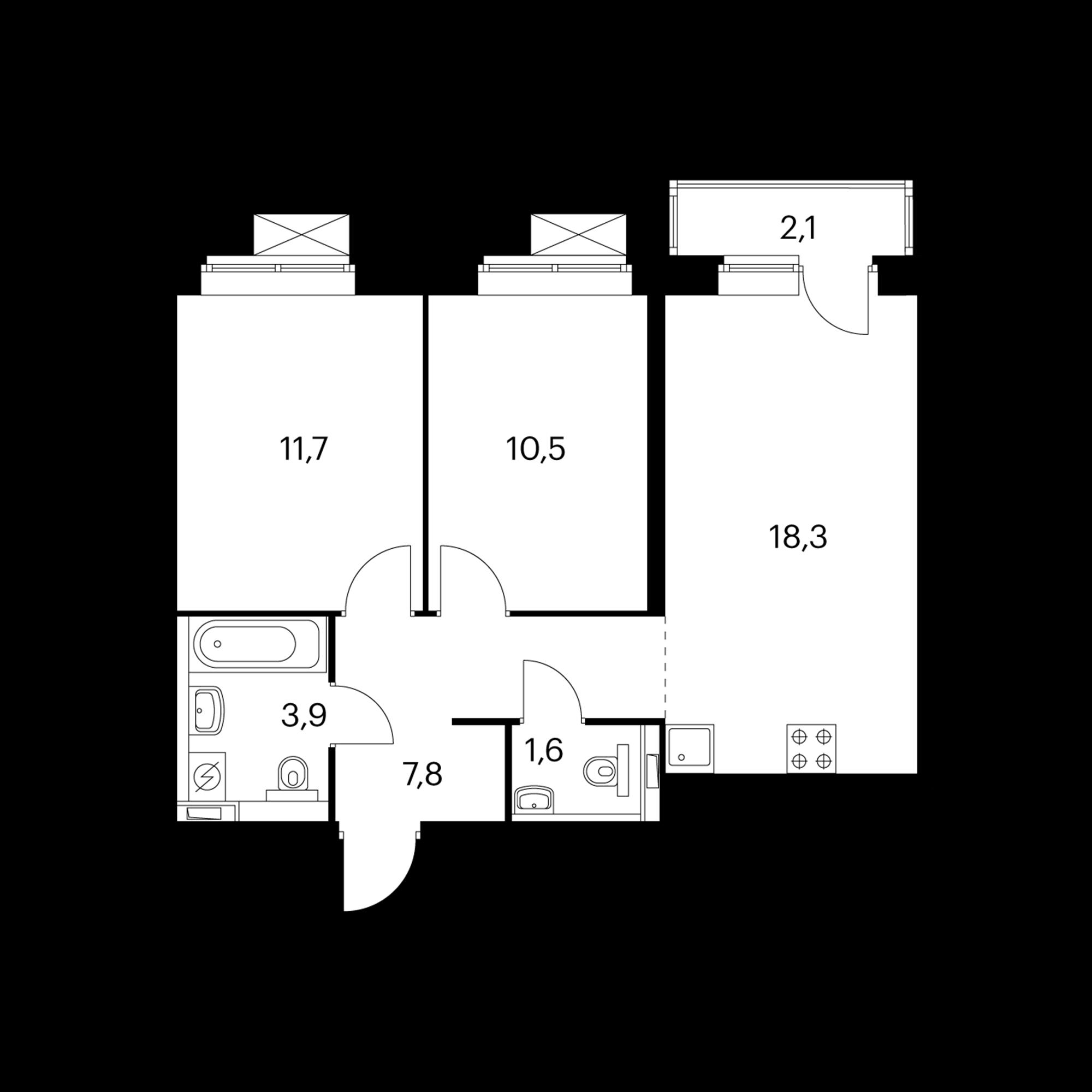 2-комнатная 54.5 м²